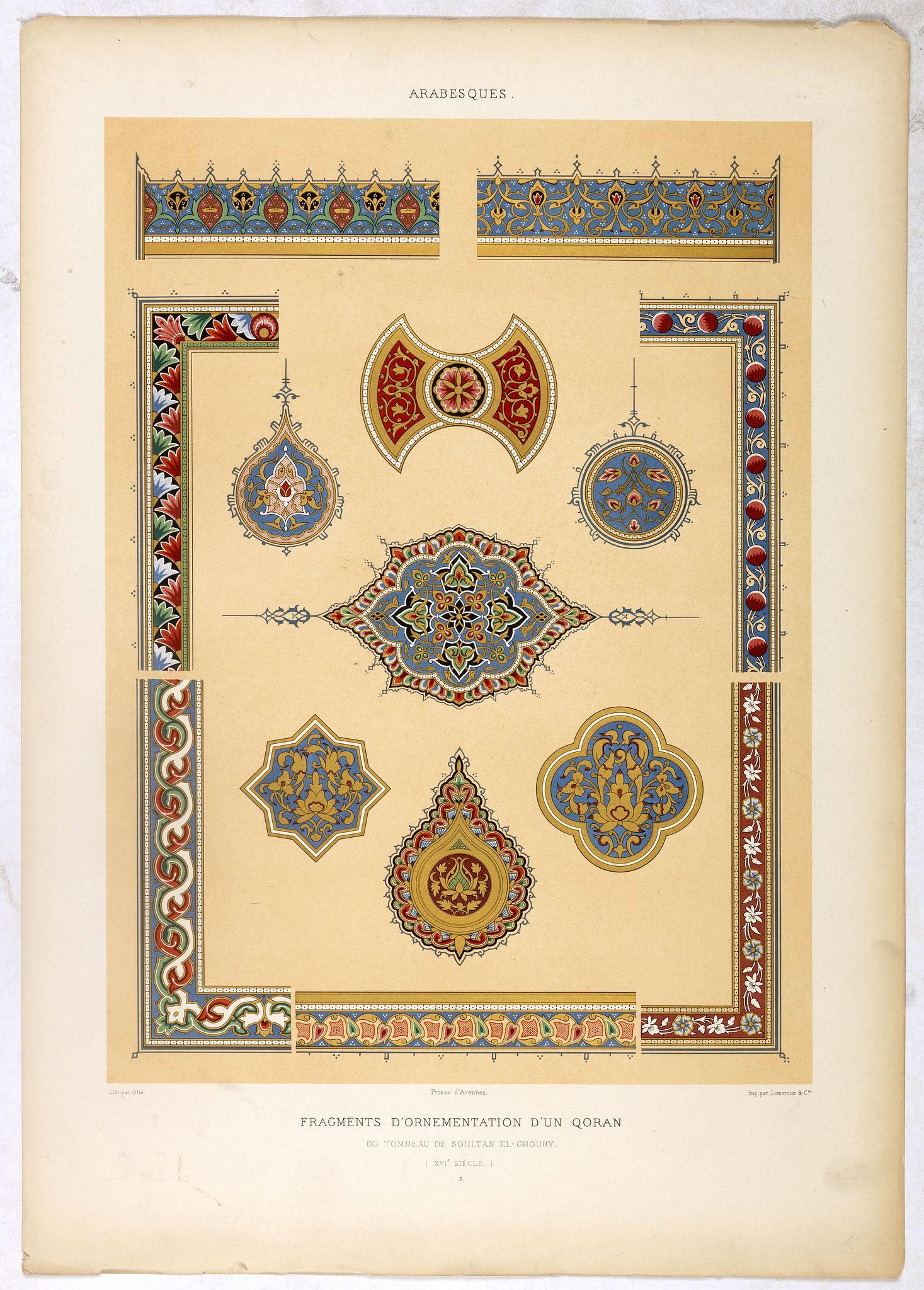 PRISSE D'AVENNES, E. -  Arabesques. - Incrustations en stuc sur pierre.