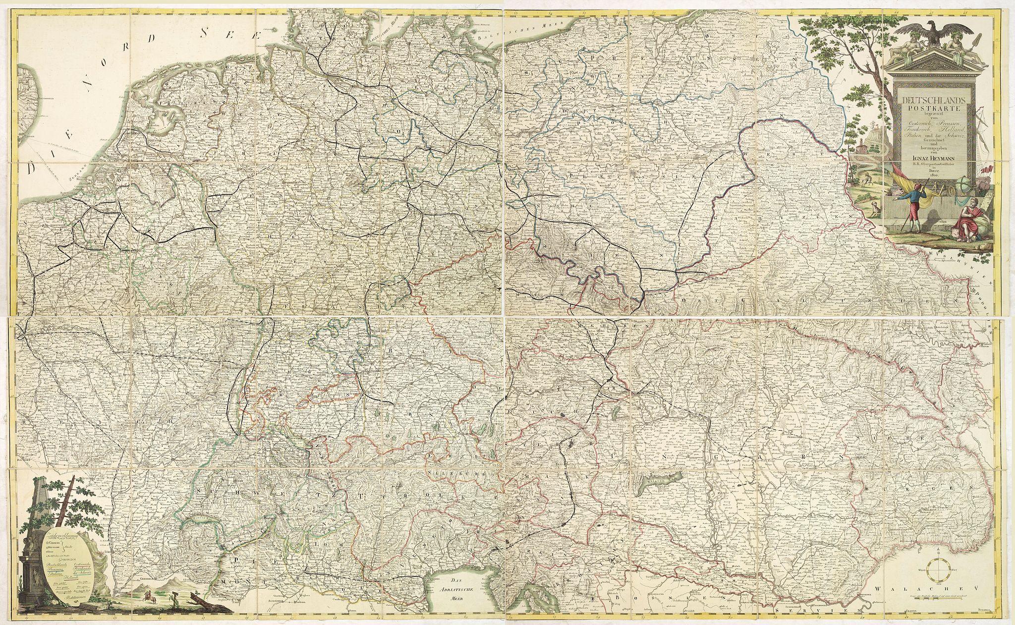 HEYMANN, I. -  Deutschlands Postkarte begraenzt von Oesterreich, Preussen, Frankreich, Holland, Italien und der Schweiz. . .