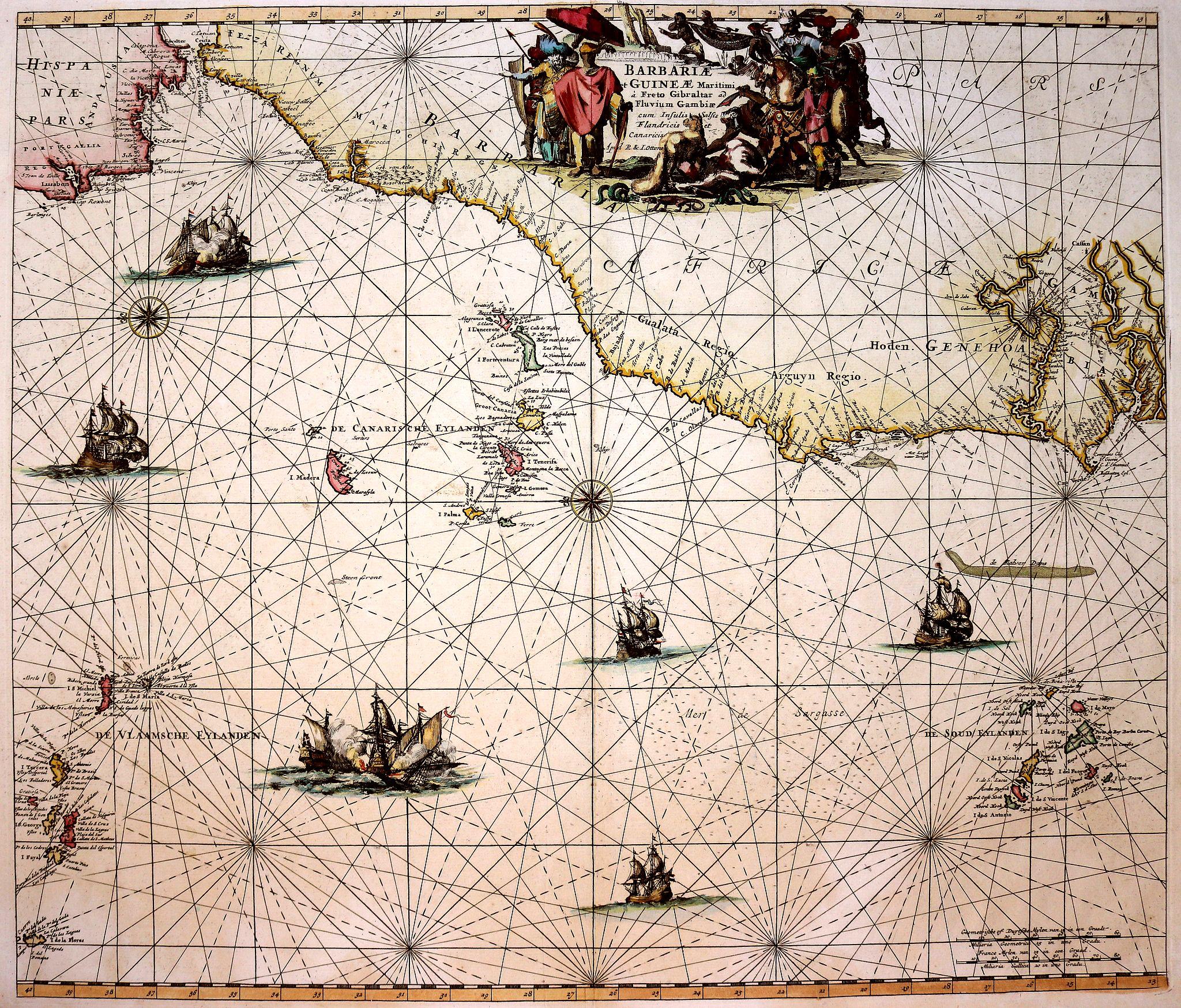 DE WIT, F. /OTTENS, R. / J. - Barbariae et Guineae Maritimi a Freto Gibralta ad Fluvium Gambiae cum Insulis Salsis Flandricis et Canaricis.