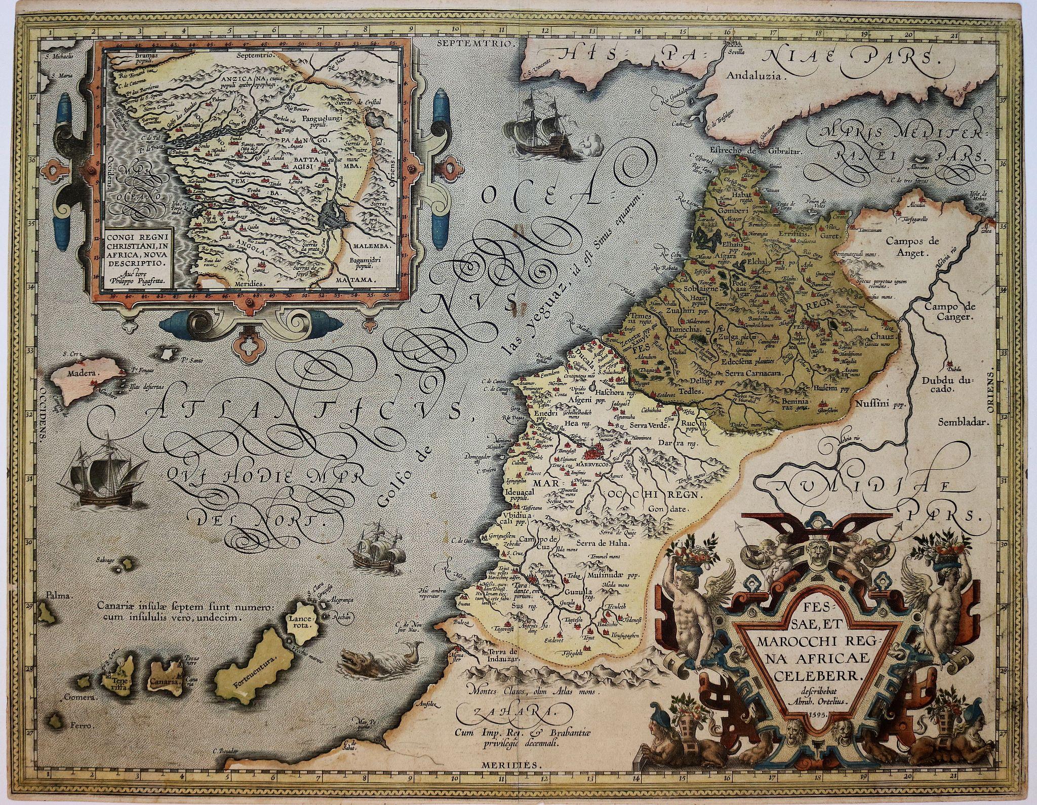ORTELIUS, A. - Fessae, et Marocchi Regna Africae Celeberr. describebat Abrah. Ortelius. 1595.