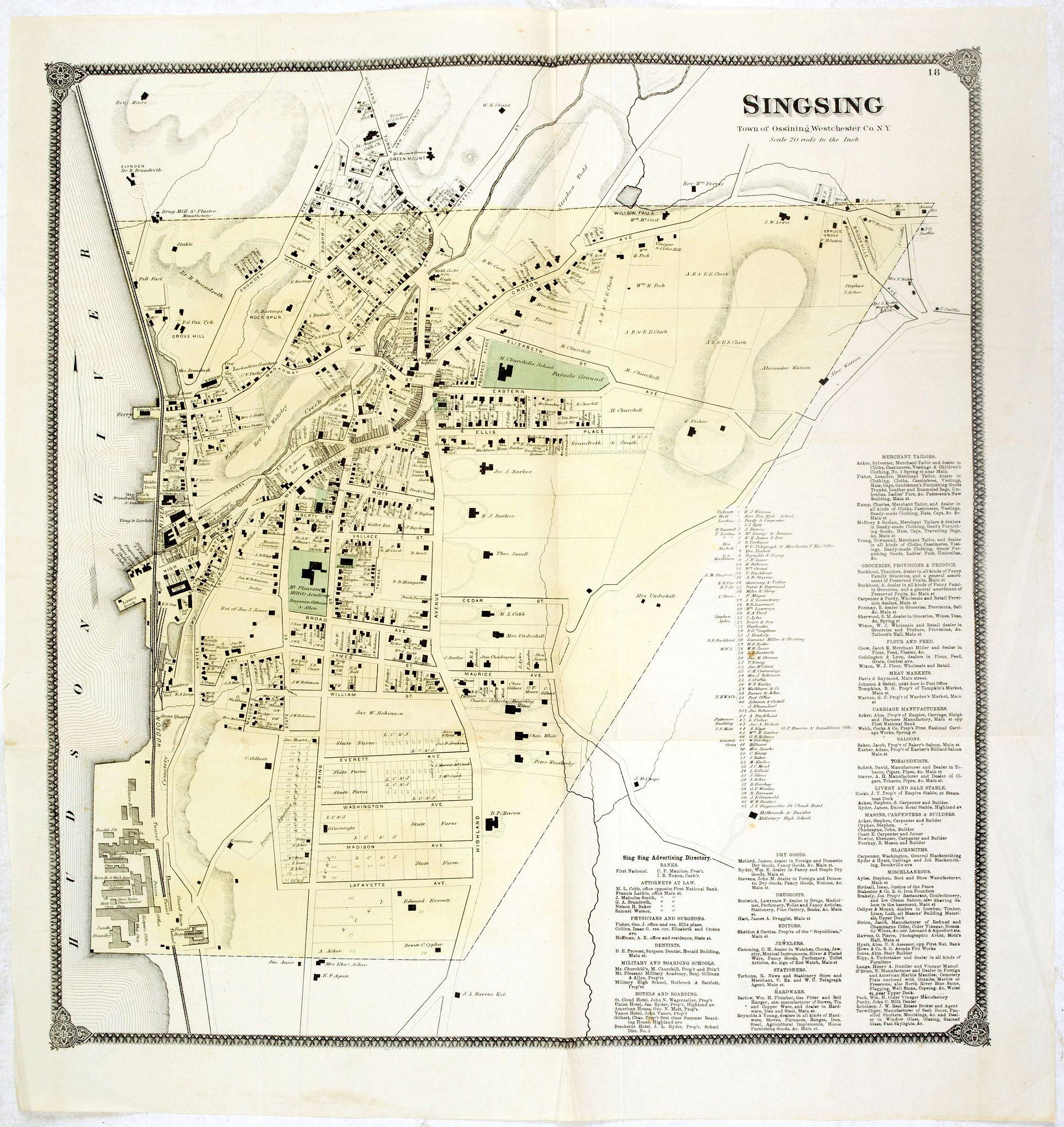 DE BEERS, F.W. -  Singsing Town of Ossining, Westchester Co. N.Y.