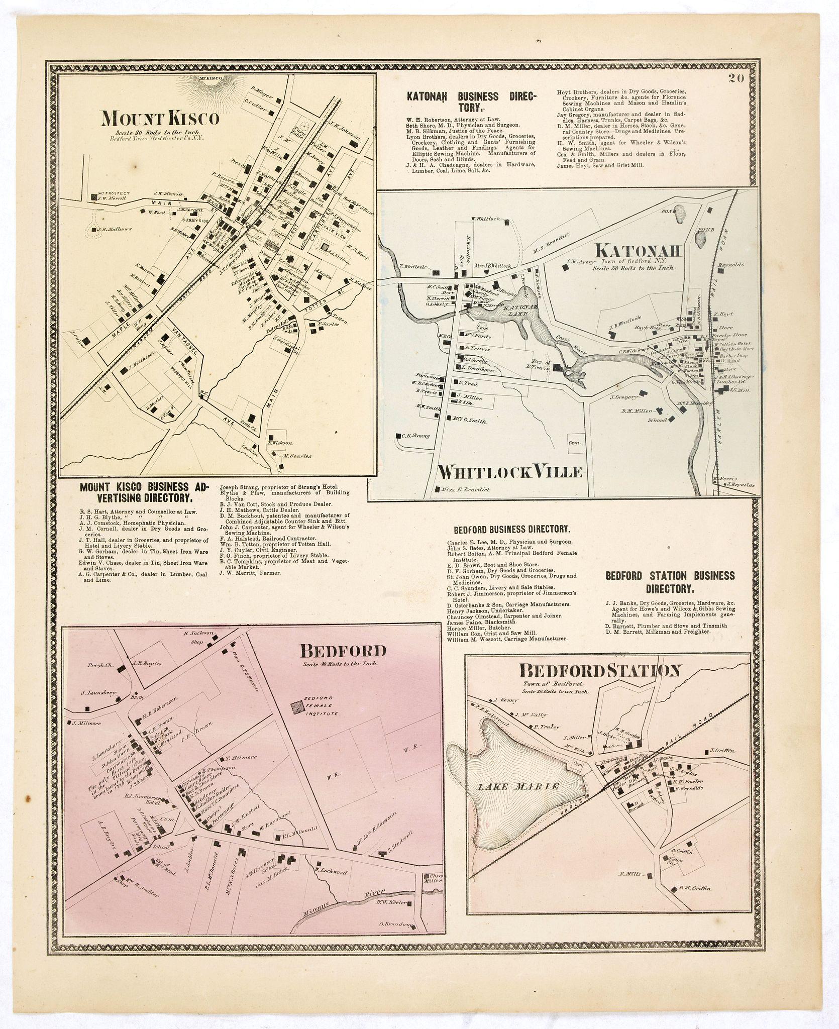 DE BEERS, F.W. -  Mount Kisco / Bedford / Katonah / Bedford Station.