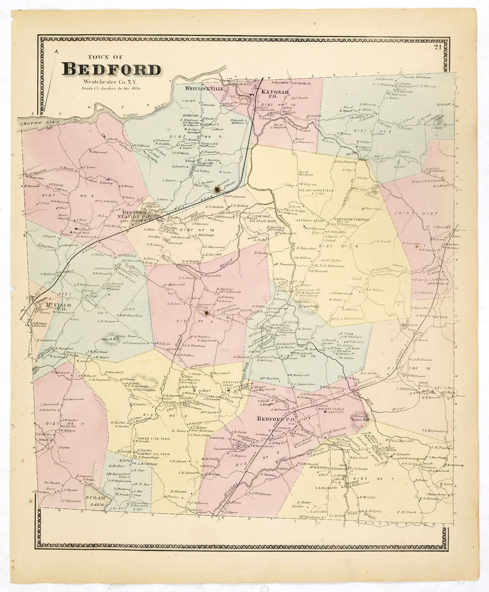 DE BEERS, F.W. -  Town of Bedford Westchester Co. NY.