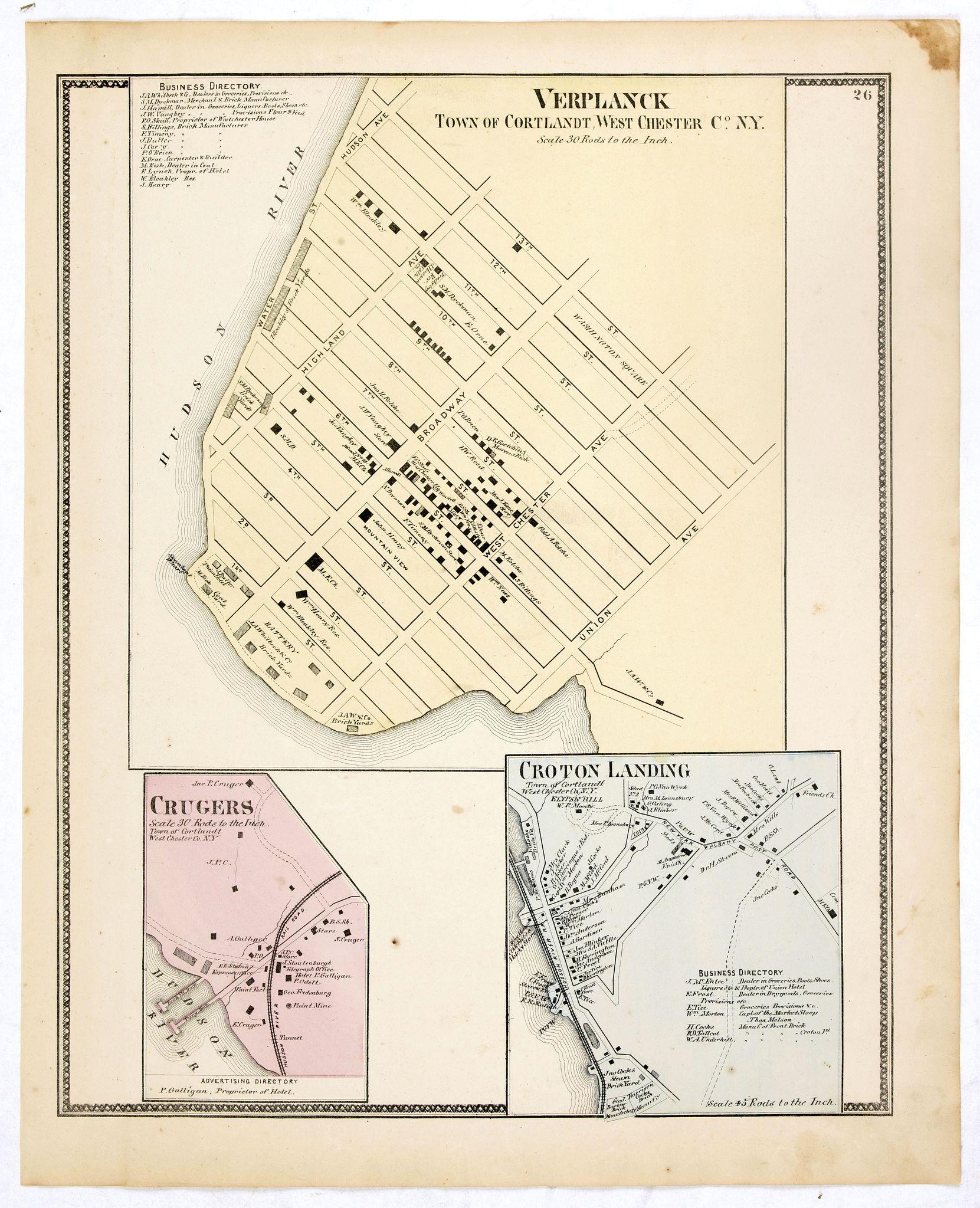 DE BEERS, F.W. -  Town of Verplanck / Crugers / Croton Landing.