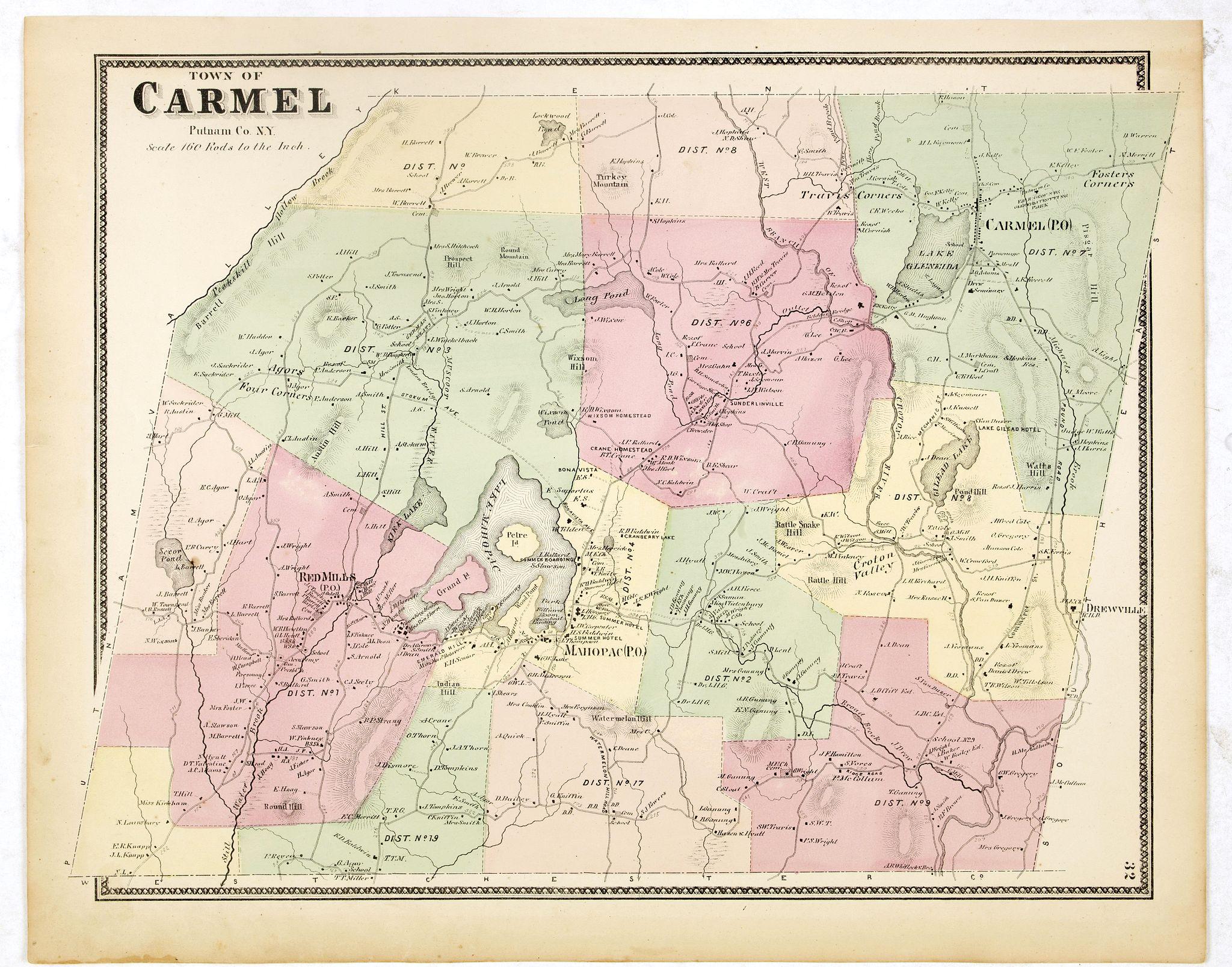 DE BEERS, F.W. -  Town of Carmel.