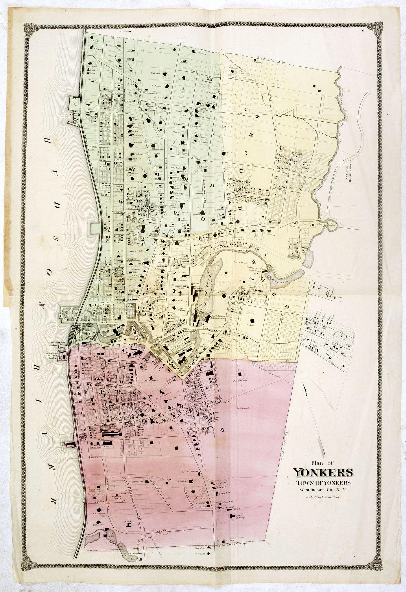 DE BEERS, F.W. -  Plan of Yonkers Town of Yonkers Westchester Co. N.Y. . . .