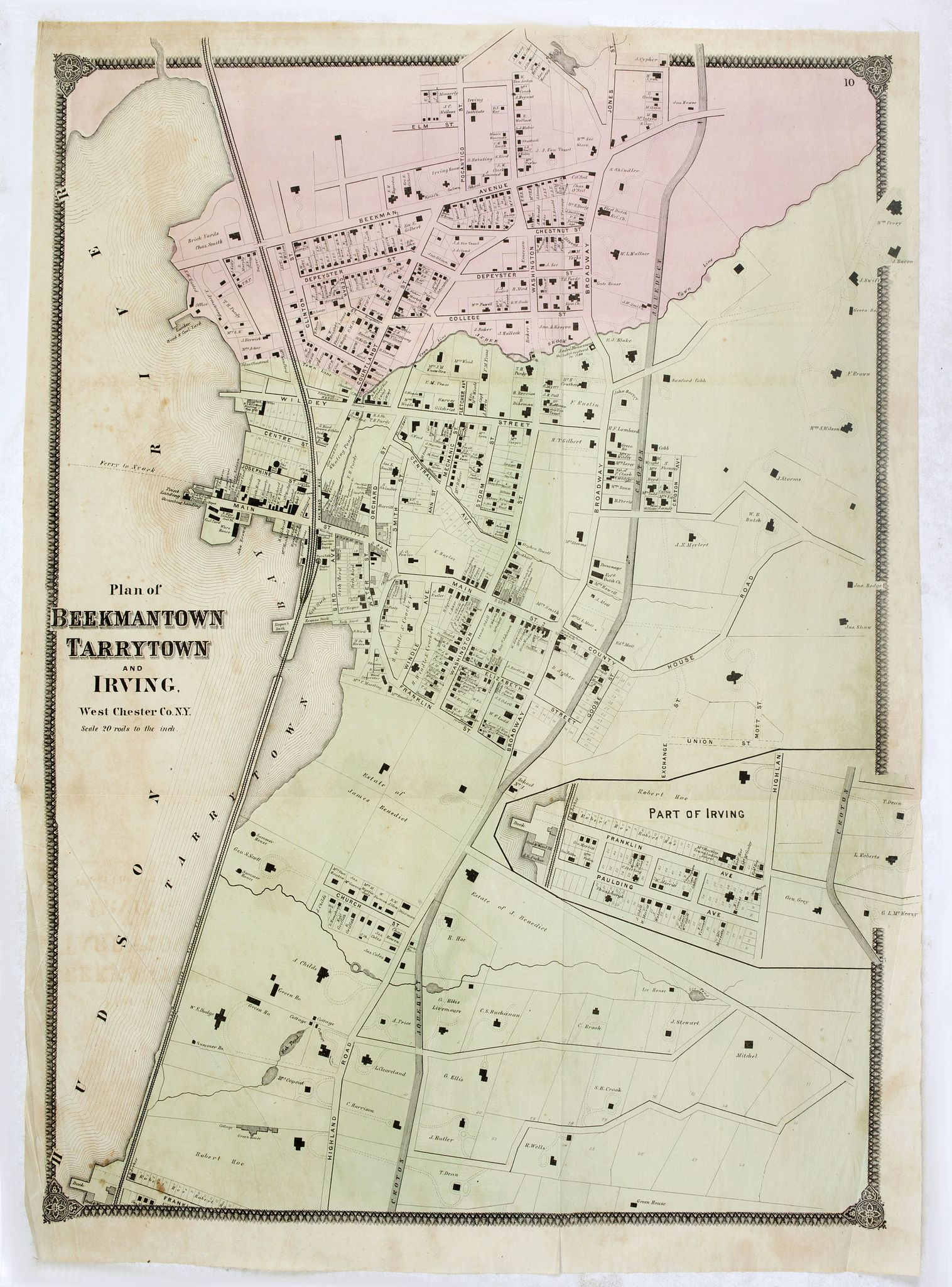 DE BEERS, F.W. -  Plan of the Beekmanton Tarryntown and Ivring. Westchester Co. N.Y.