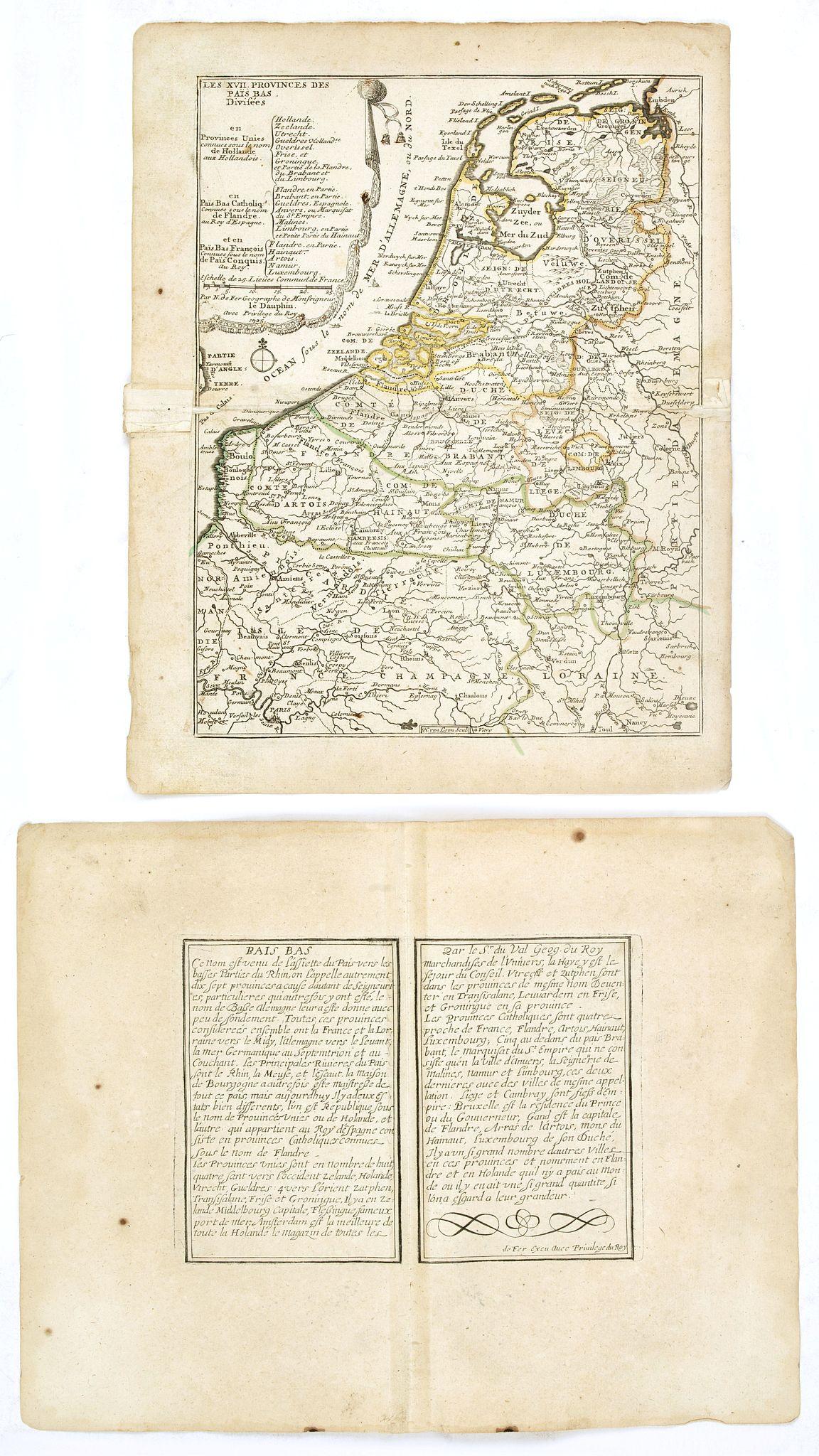DE FER, N. -  Les XVII Provinces Païs Bas Divisées.
