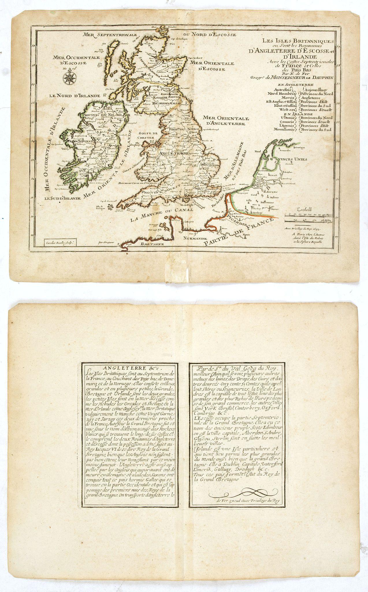 DE FER, N. -  Les Isles Britanniques ou sont les Royaumes . . .
