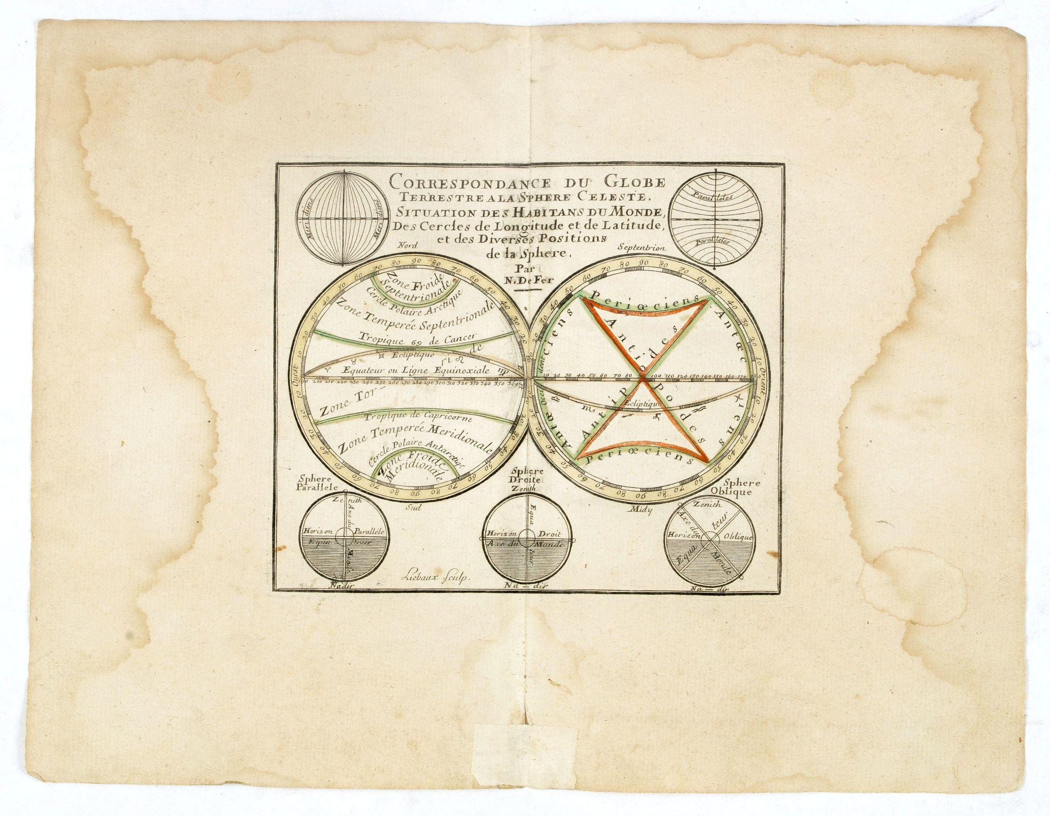 DE FER, N. -  Correspondance du Globe Terrestre a la sphère Celeste . . .