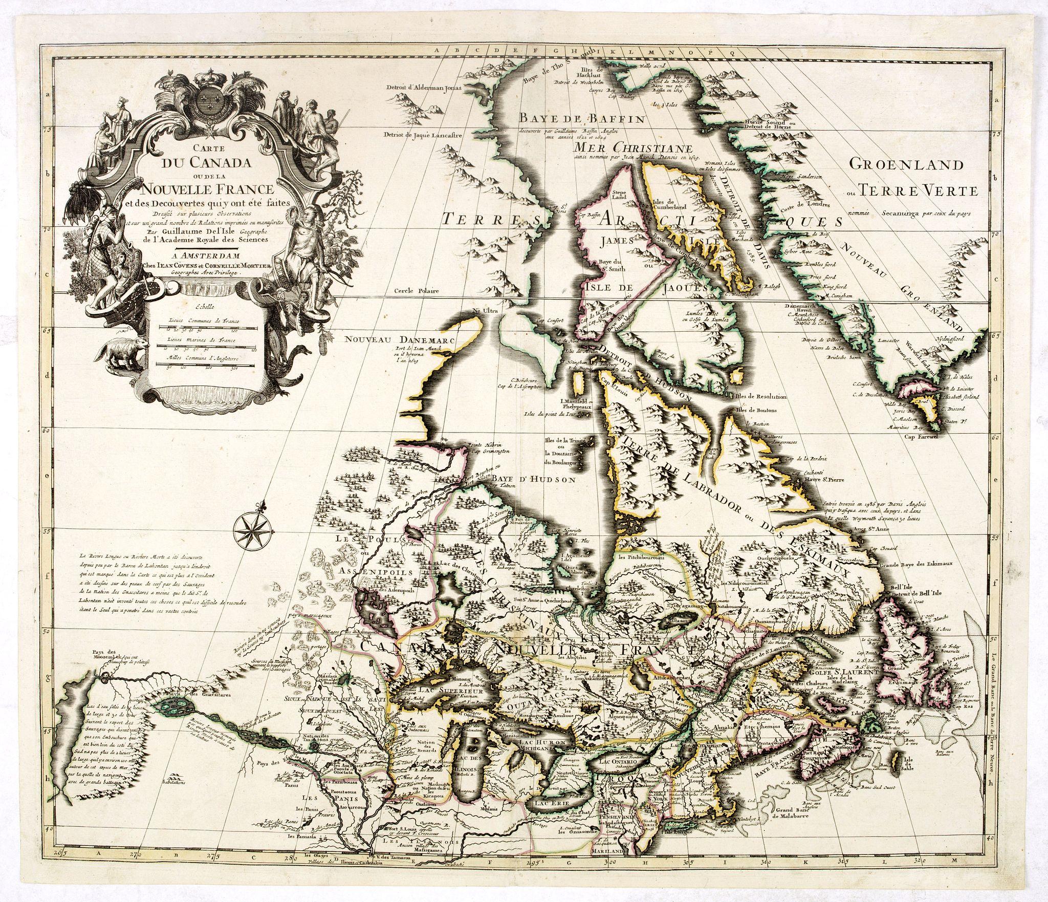 COVENS, J. / MORTIER, C. -  Carte du Canada ou de la Nouvelle France et des Decouvertes qui y ont ete faites..