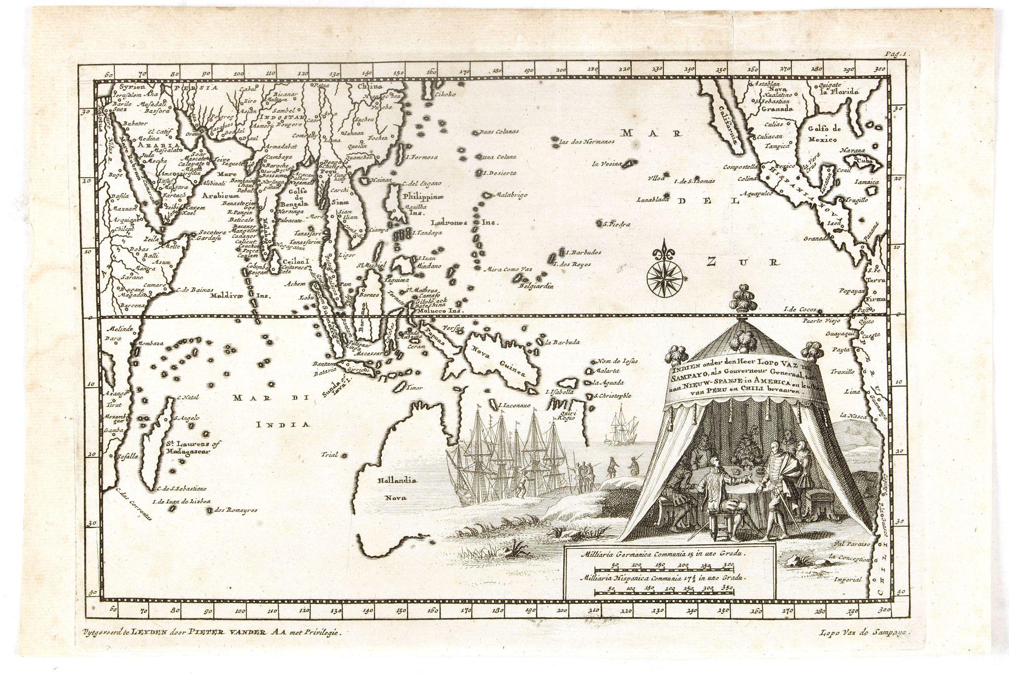 VAN DER AA, P. -  Indien onder den Heer Lopo Vaz De Sampayo, als Gouverneur Generaal tot aan Nieuw-Spanje in American on Kusten van Peru en Chili bevaaren.