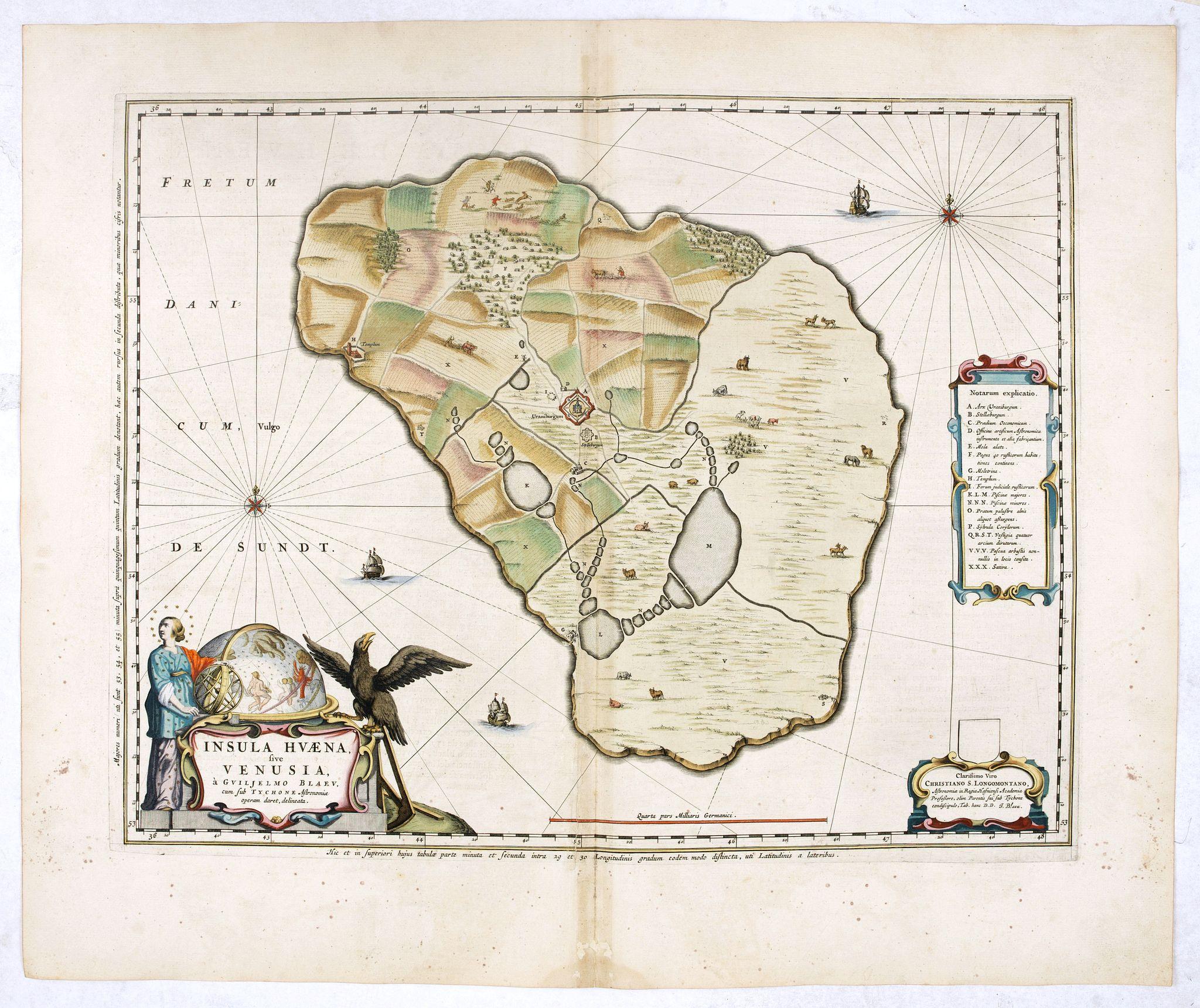 BLAEU, J. -  Insula Huaena sive Venusia a Guiljelmo Blaeu cum sub Tychone Astronomiae operam daret, delineata.