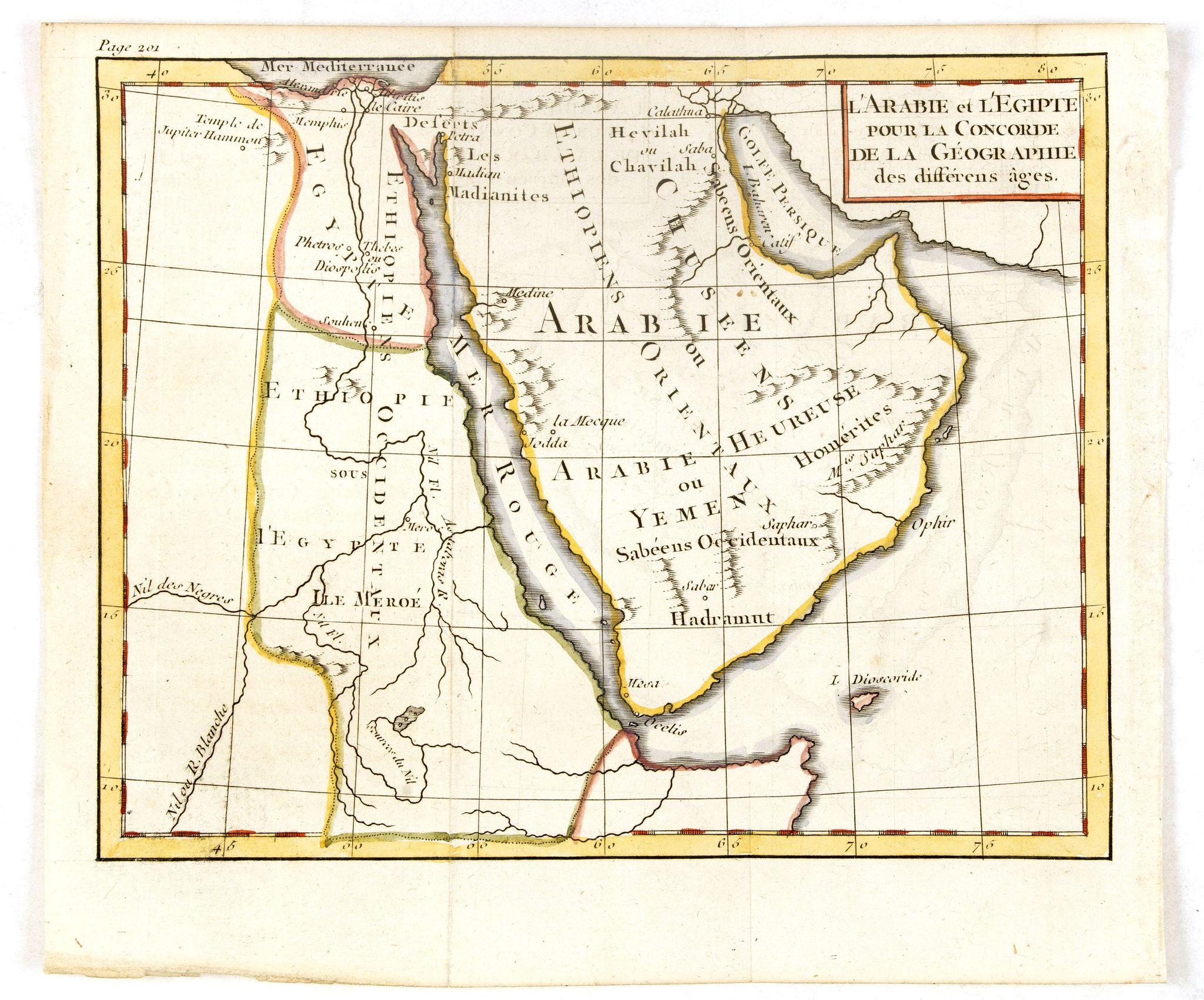 ANONYMOUS -  l'Arabie et l'Egypte pour la Concorde de la Géographie des different Ages.