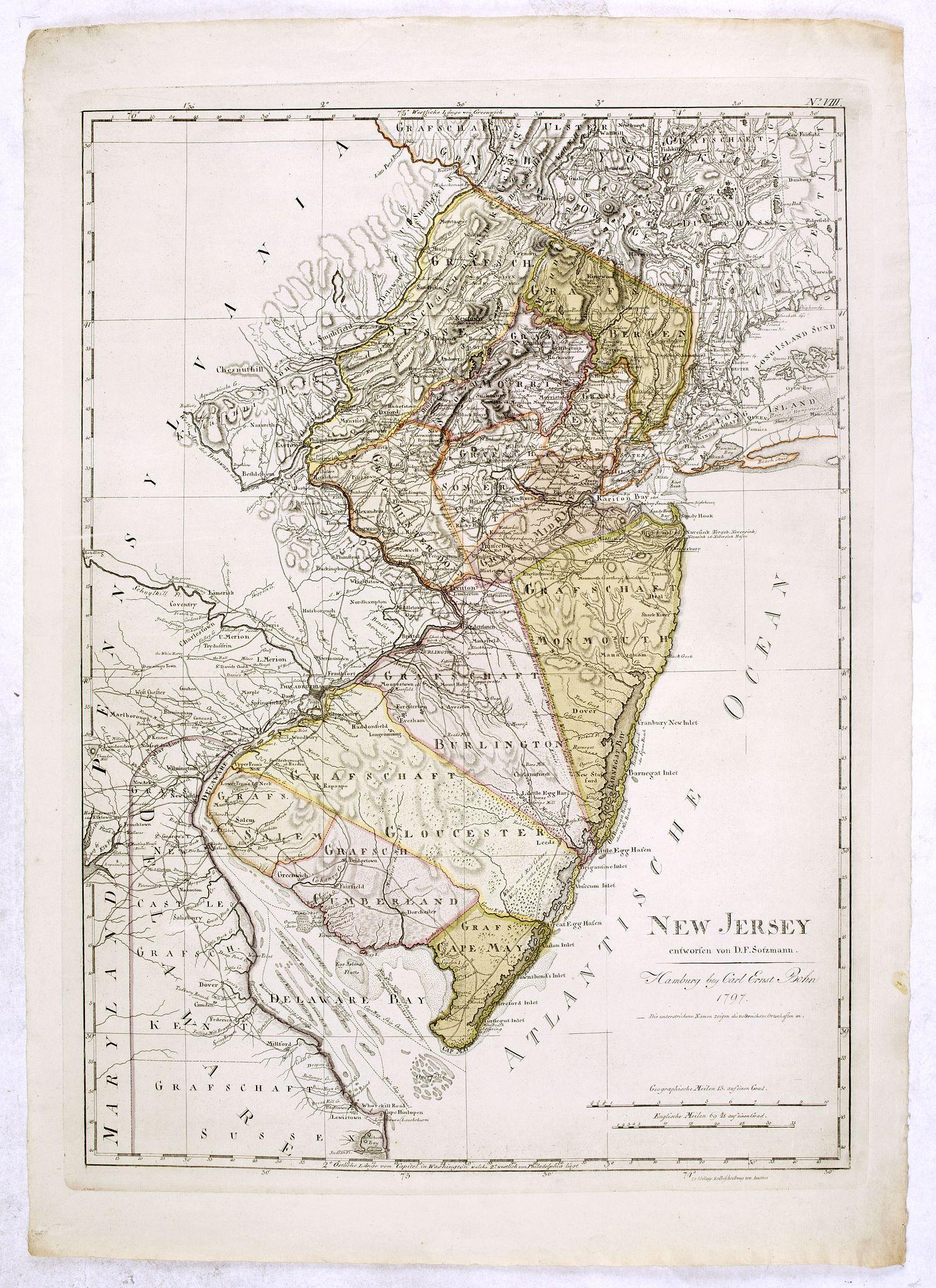 SOTZMANN, D.F. -  New Jersey entworfen von D.F. Sotzmann. Hamburg bey Carl Ernst Bohn 1796 . . . NO.VIII