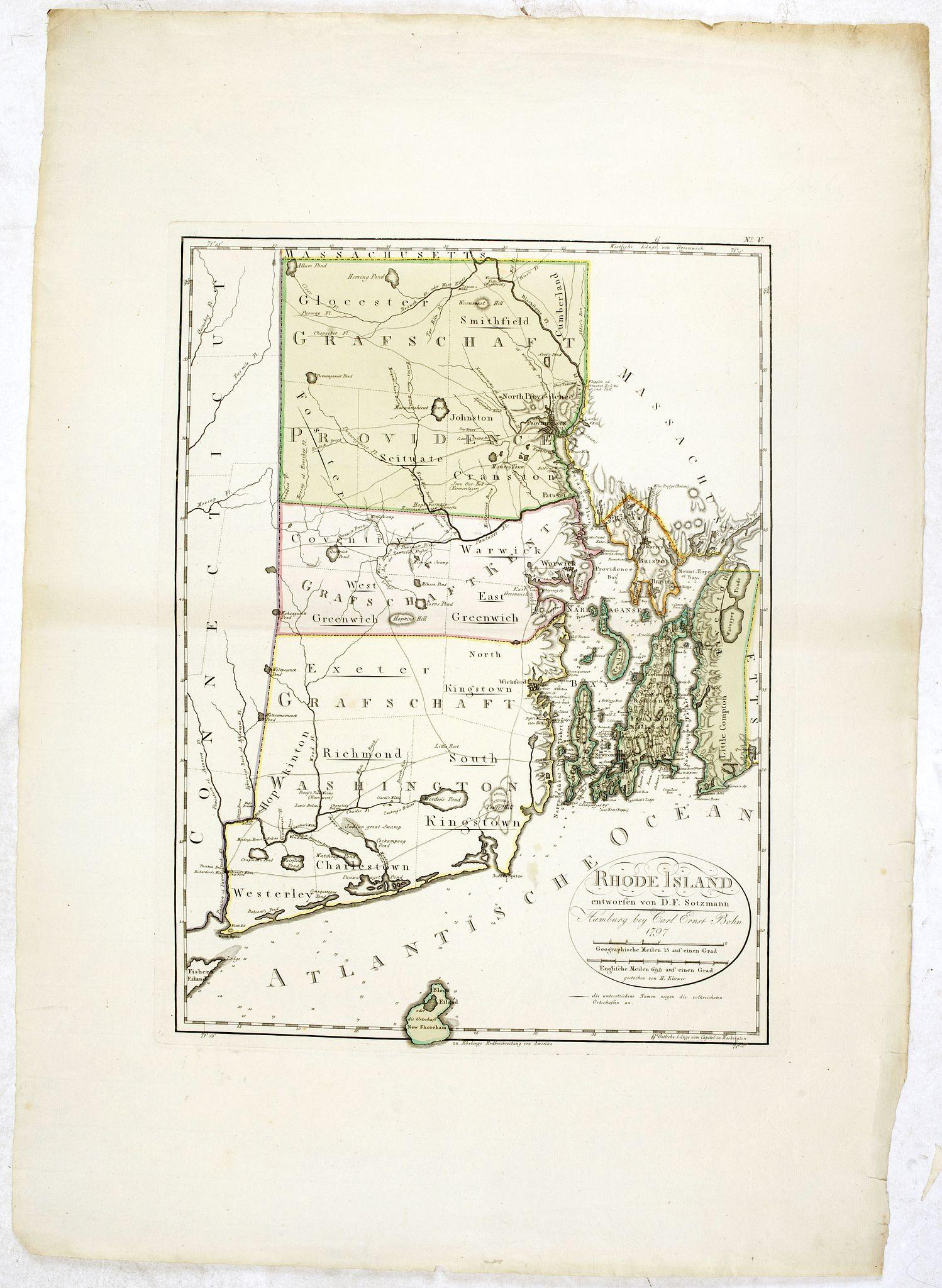 SOTZMANN, D.F. -  Rhode Island entworfen von D.F. Sotzmann. Hamburg bey Carl Ernst Bohn 1798 . . . NO.V