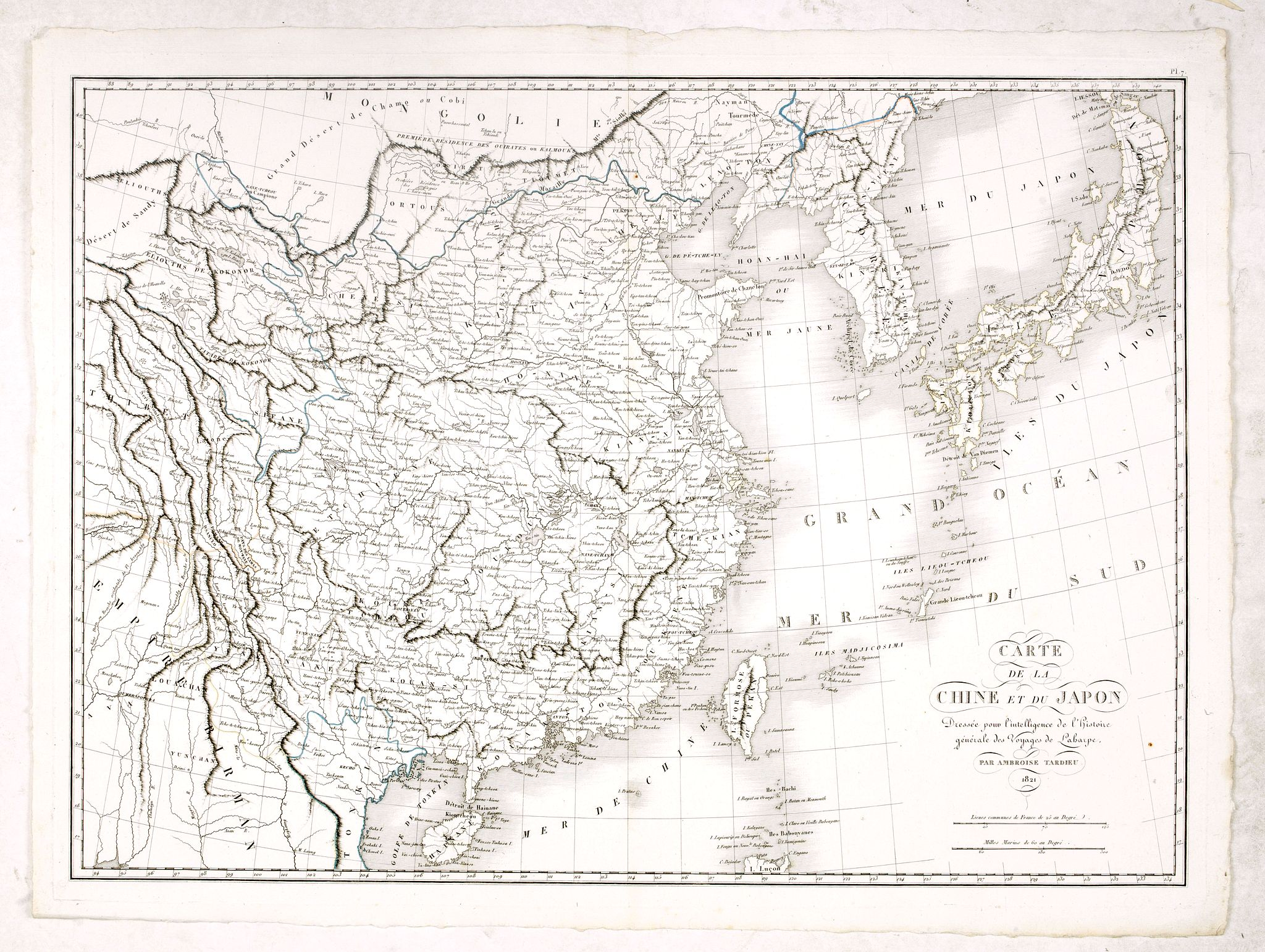 TARDIEU, A. -  Carte de la Chine et du Japon. Dressée pour l'intelligence de l'histoire général des voyages de Laharpe. . .
