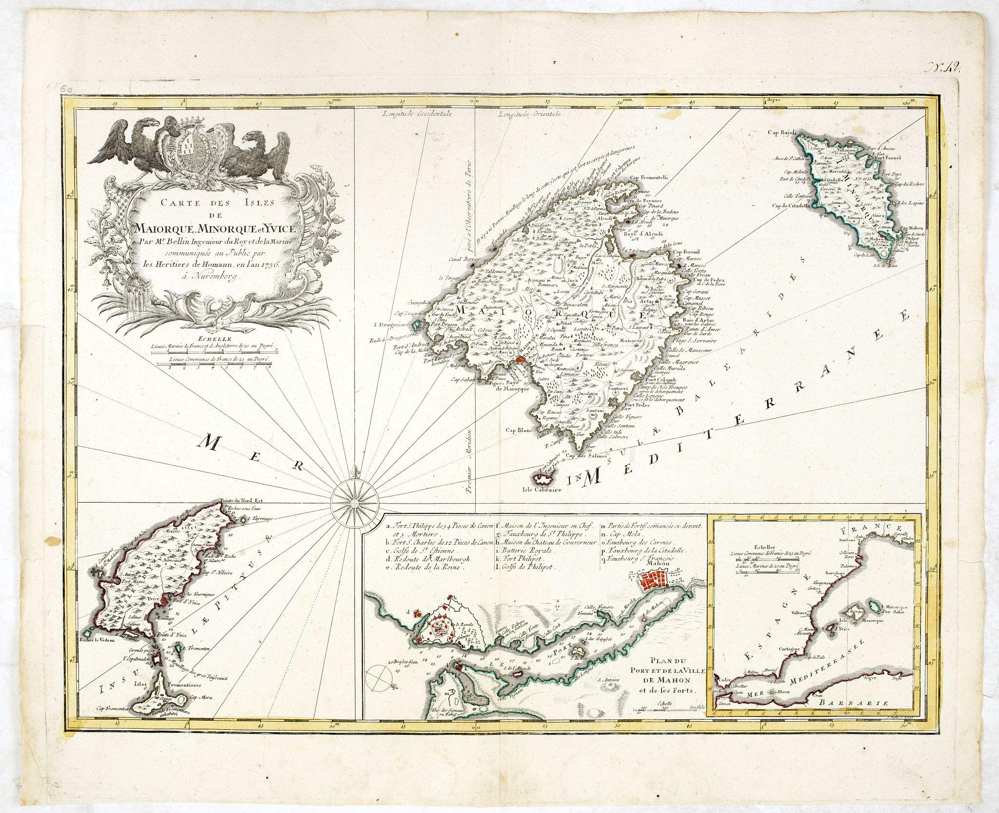 BELLIN, J.N. / HOMANN HEIRS -  Carte des Isles de Maiorque Minorque et Yvice.