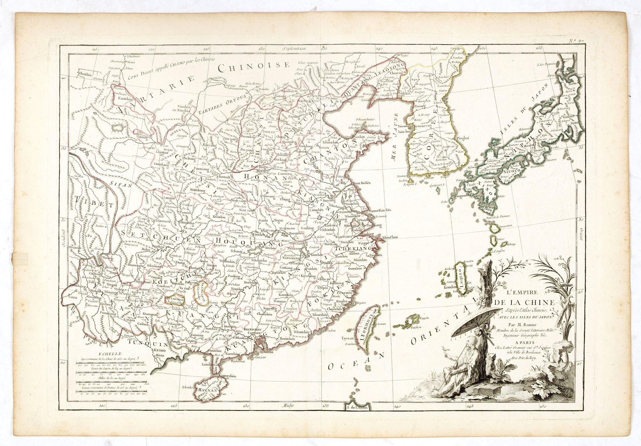 LATTRÉ / BONNE, R. -  L'Empire de la Chine d'après l'Atlas Chinois, avec les Isles du Japon..