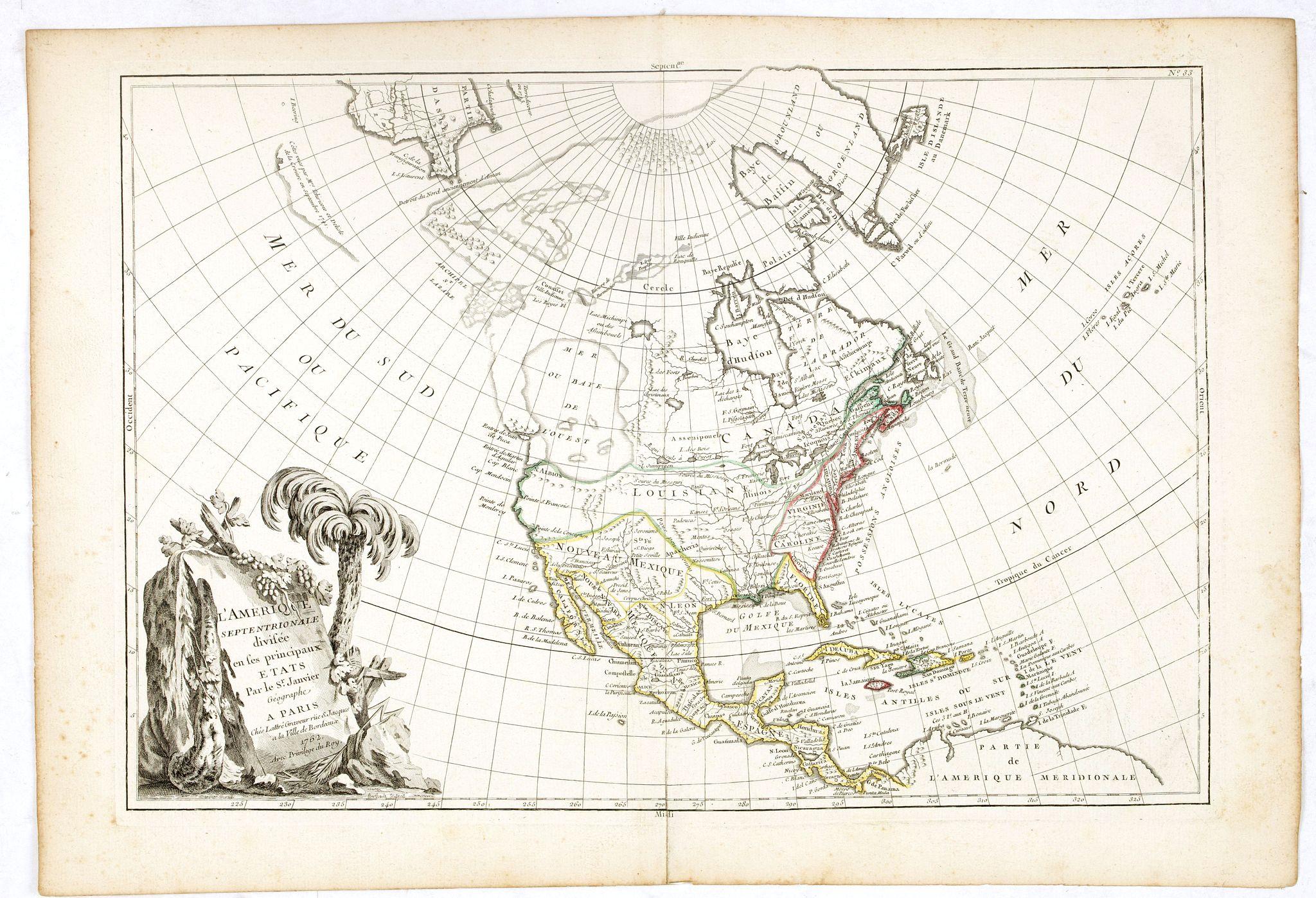 JANVIER,Sr. / LATTRE -  L'Amerique Septentrionale Divisee en Ses Principaux Etats. . .