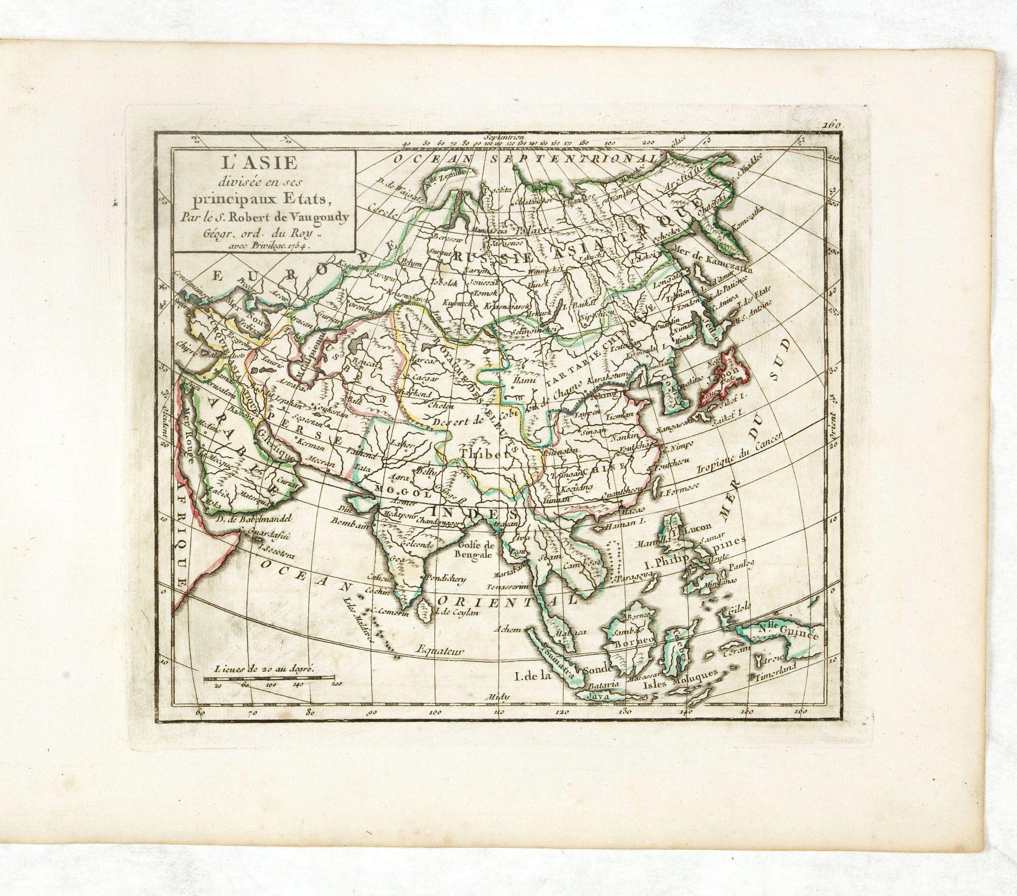 VAUGONDY, R. de -  L'Asie Divisée selon ses differens Etats.