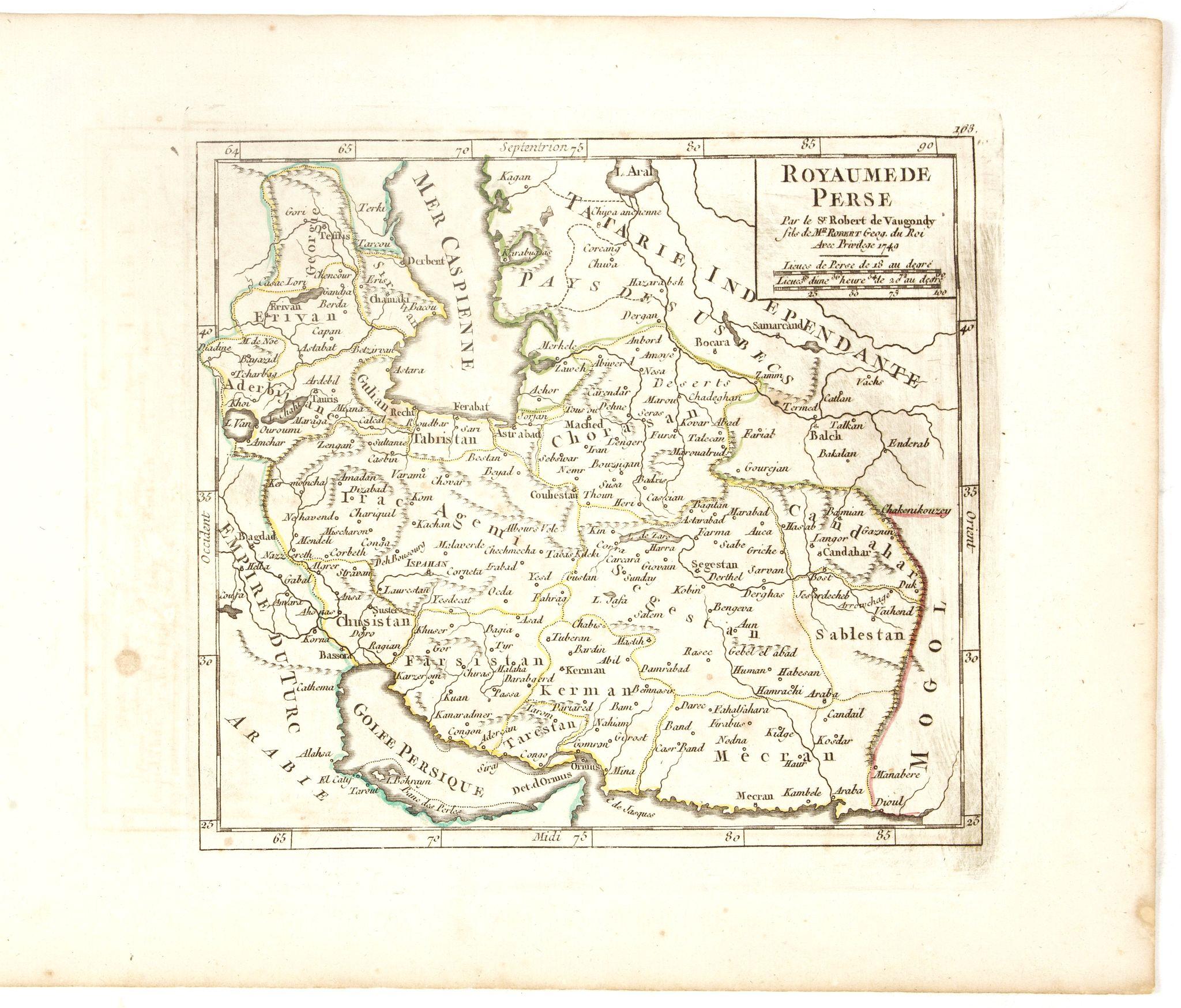 VAUGONDY, R. de -  Royaume de Perse  Par le Sr. Robert de Vaugondy fils de Mr. Robert Geog. Ord du Roi avec Privilege 1749.