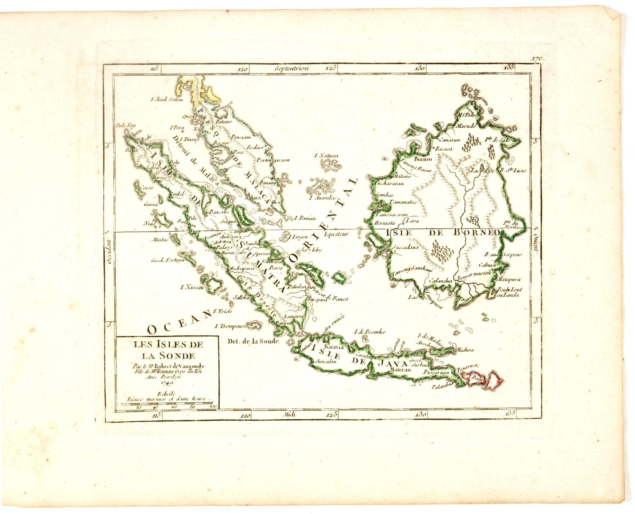 VAUGONDY, R. de -  Les Isles de la Sonde Par le Sr. Robert de Vaugondy fils de Mr. Robert Geog. Ord du Roi avec Privilege 1749.