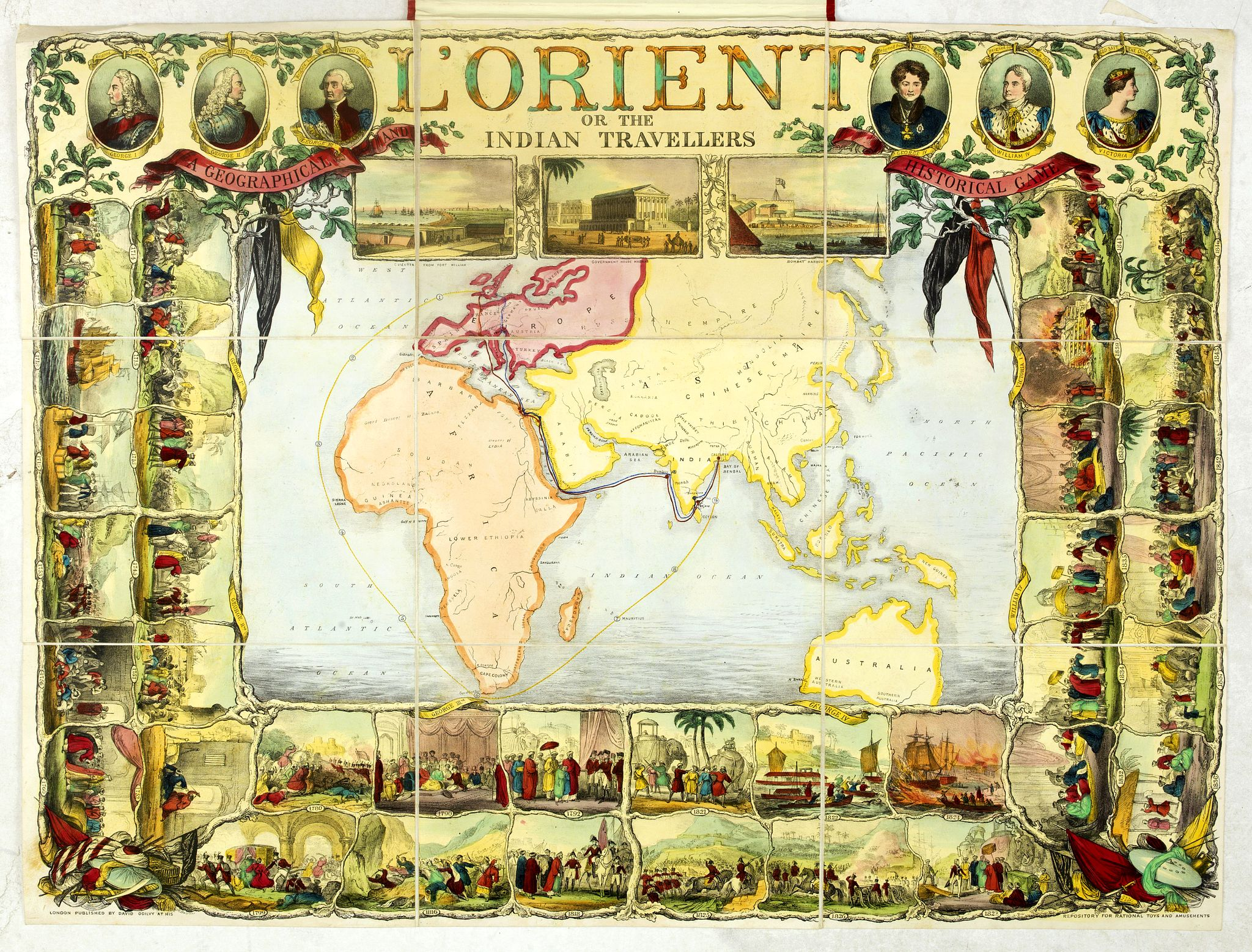 OGILVY, D. -  l'Orient or the Indian travellers. A geographical and historical game. . .