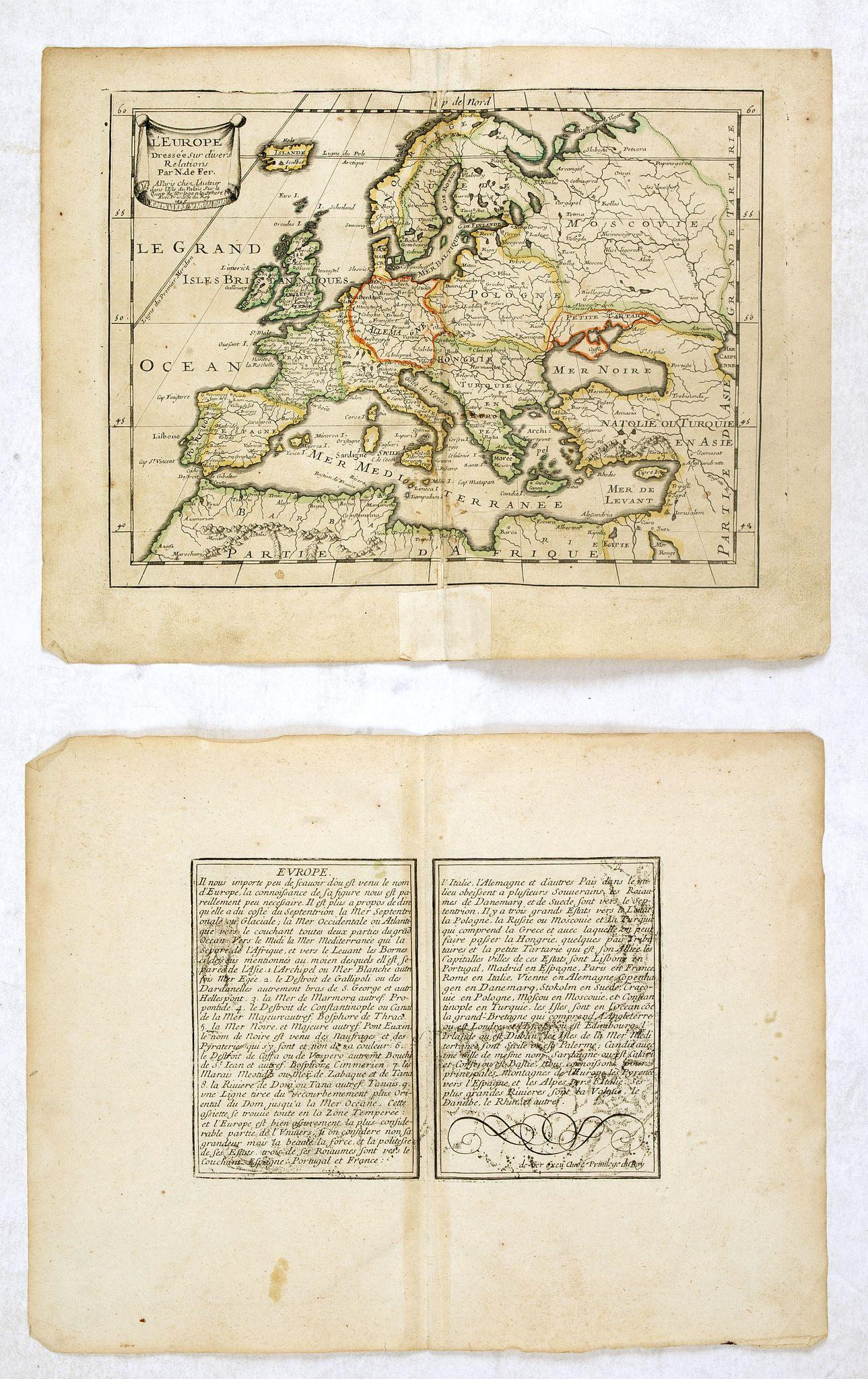 DE FER, N. -  L'Europe Dressée sur divers Relations Par N. de Fer.