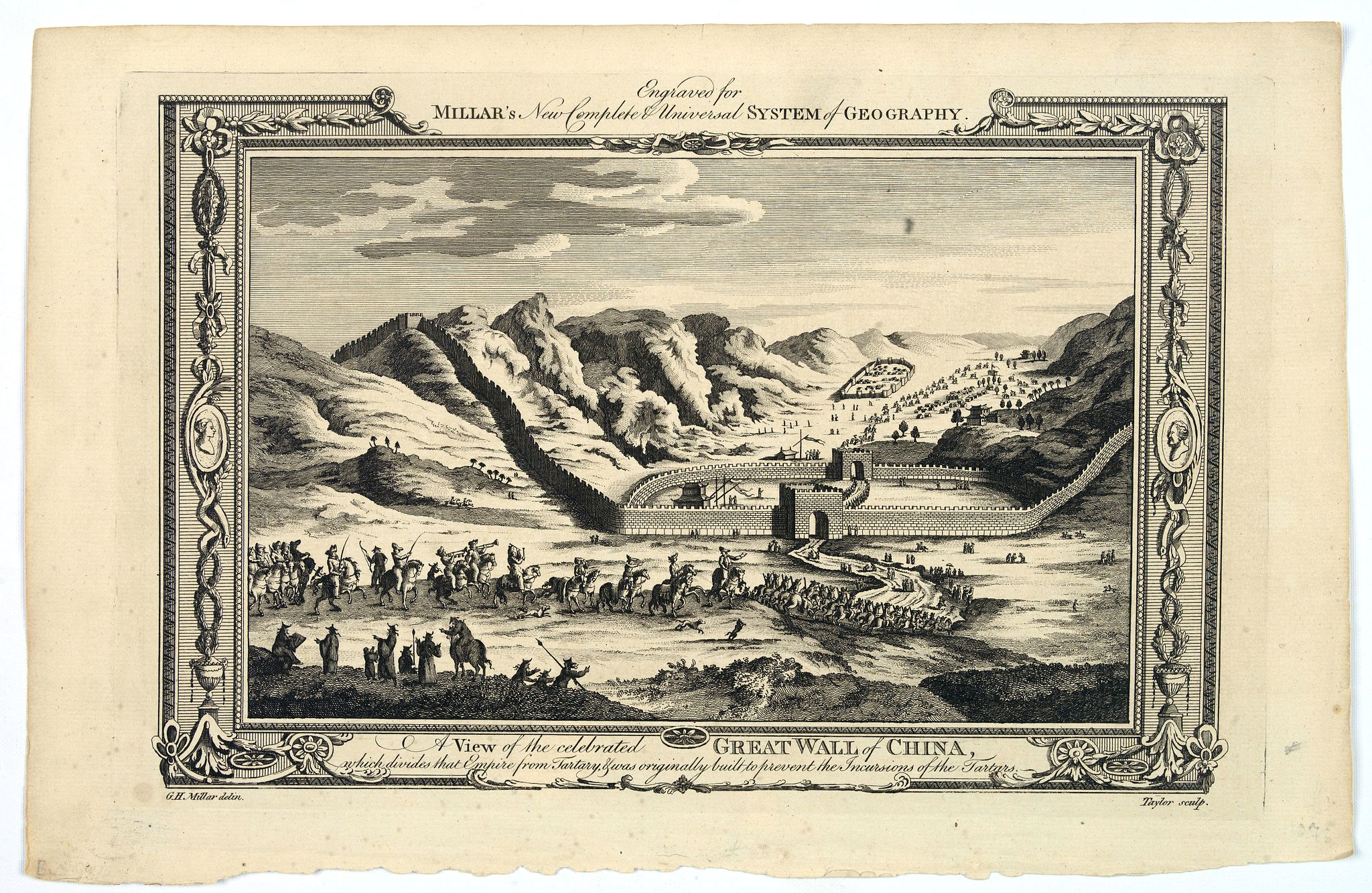 MILLAR, G.H.,  A View of the celebrated Great Wall of China which divides that Empire from Tartary…, antique map, old maps