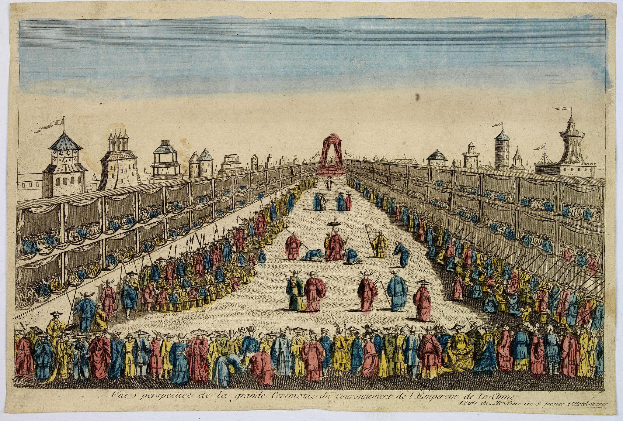 MONDHARE -  Vue perspective de la grande Ceremonie du Couronnement de l'Empereur de la Chine.