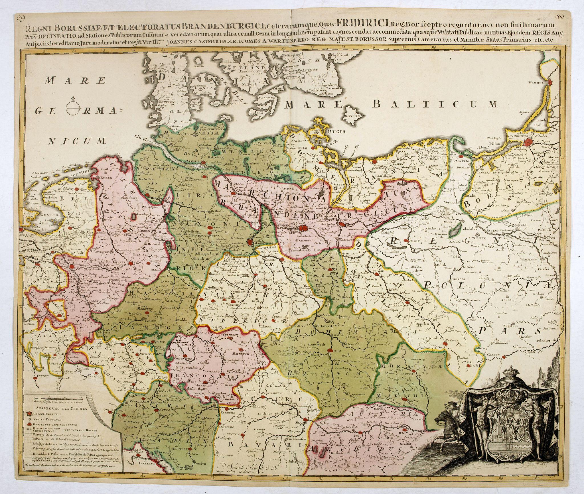 SCHENK, P. -  Regni Borussiae et Electoratus Brandenburgici, Ceterarum que, Quae Fridirici Reg. Bor. sceptro reguntur nec non finitimarum Prov. Delineatio. . .