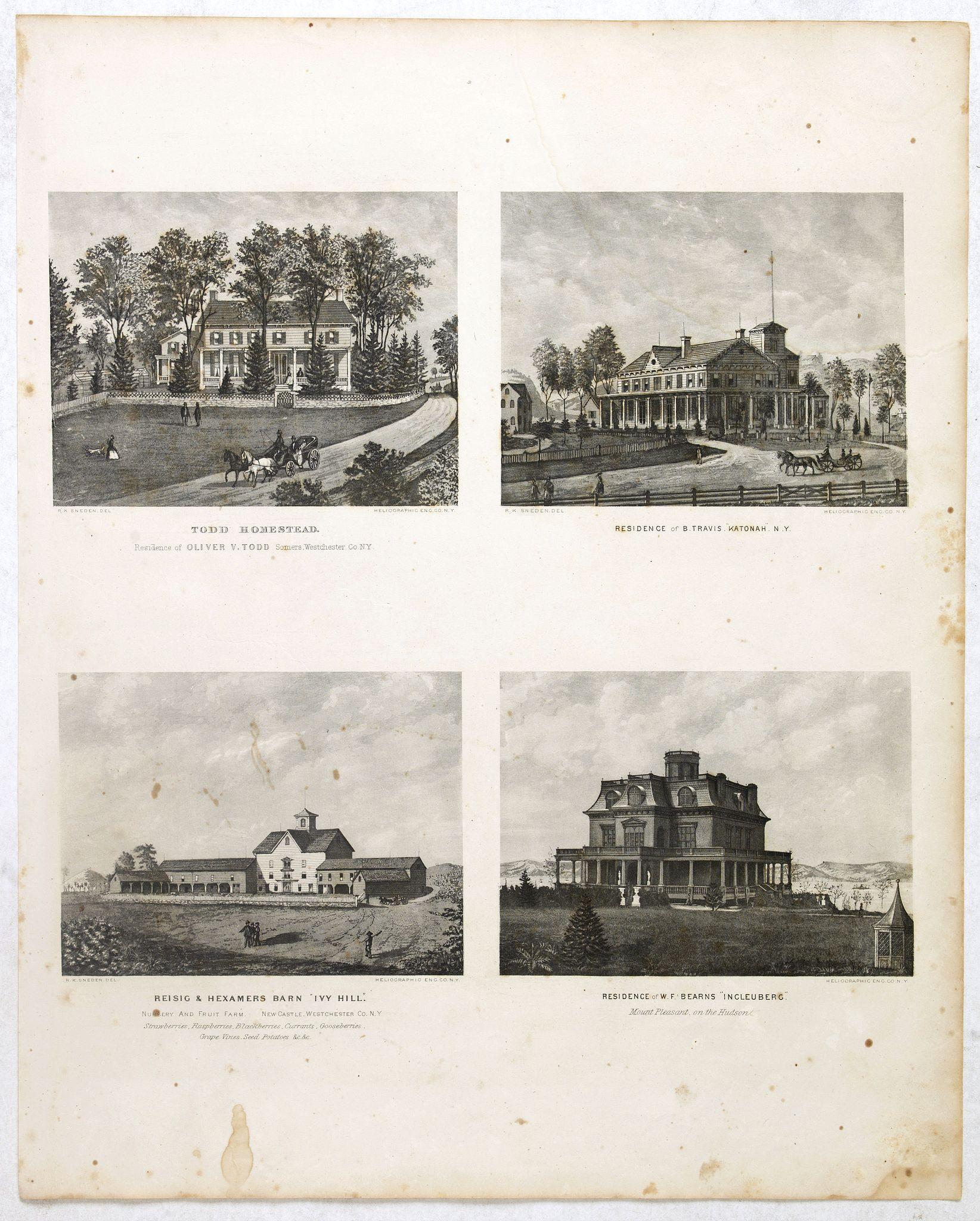 DE BEERS, F.W. -  Todd Homestead / Résidence of B. Travis Katonah N.Y / Reisig & HexamersBarn Ivy Hill /  Résidence of W.F Bearns
