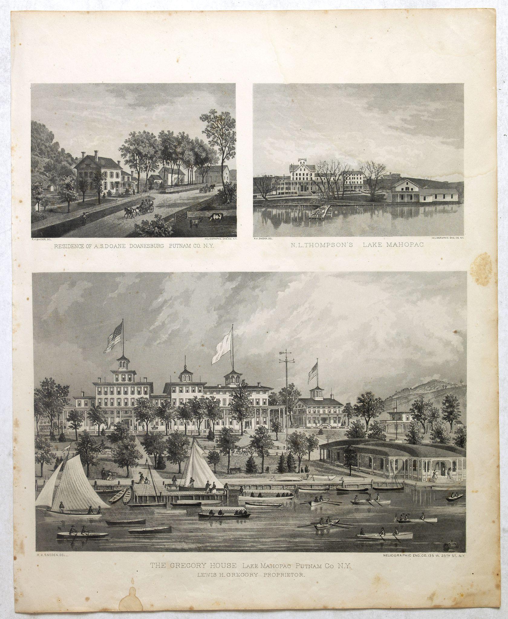 DE BEERS, F.W. -  Residence of A.S. Doane Doanesburg Putnam Co. N.Y. - N. L. Thompsons's lake Mahopac - The Gregory House lake Mahopac Putnam Co N. Y. Lewis H. Gregory Proprietor.