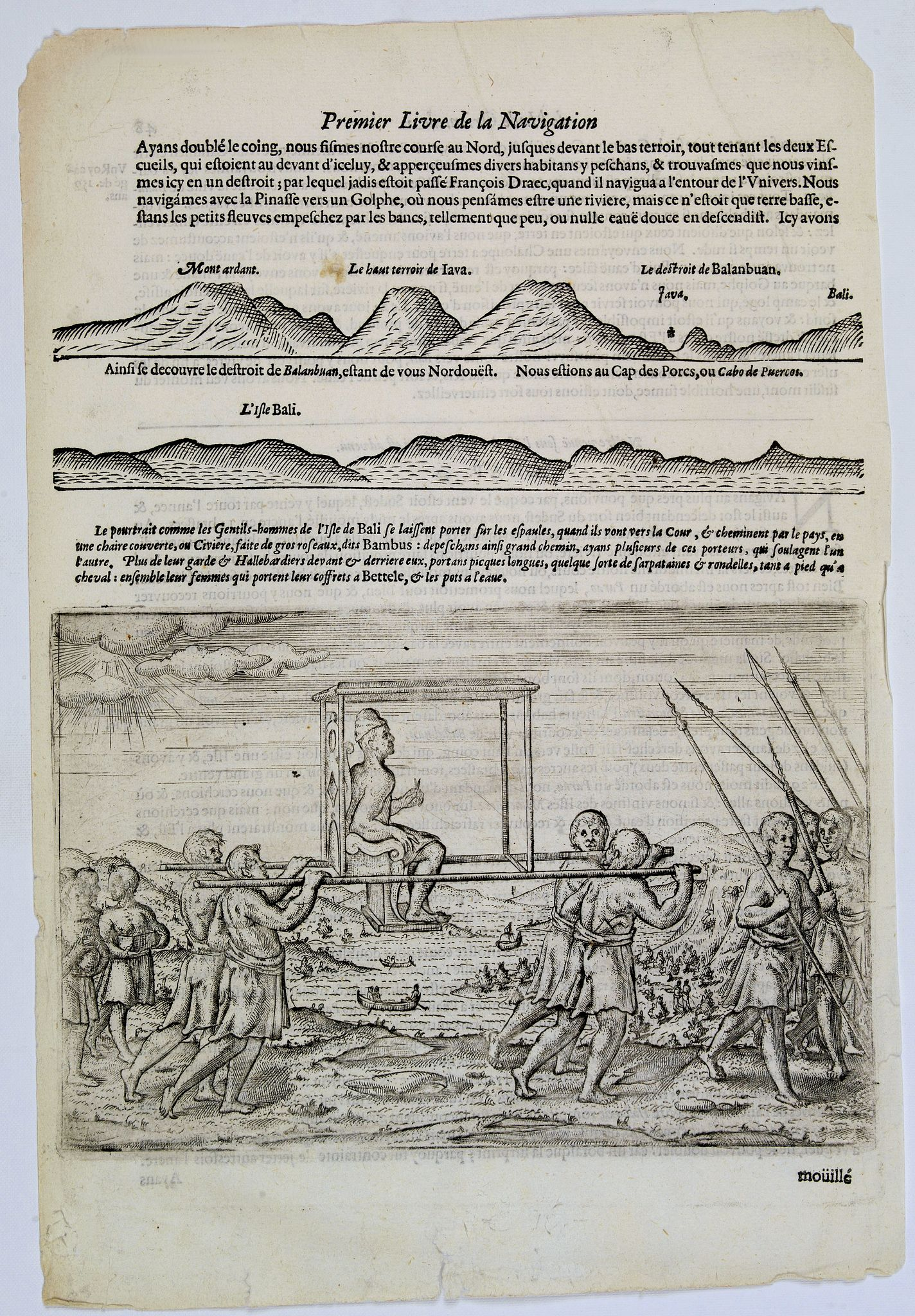 LODEWYCKSZ, Willem,  [How the genteel folk of Bali are transported], antique map, old maps