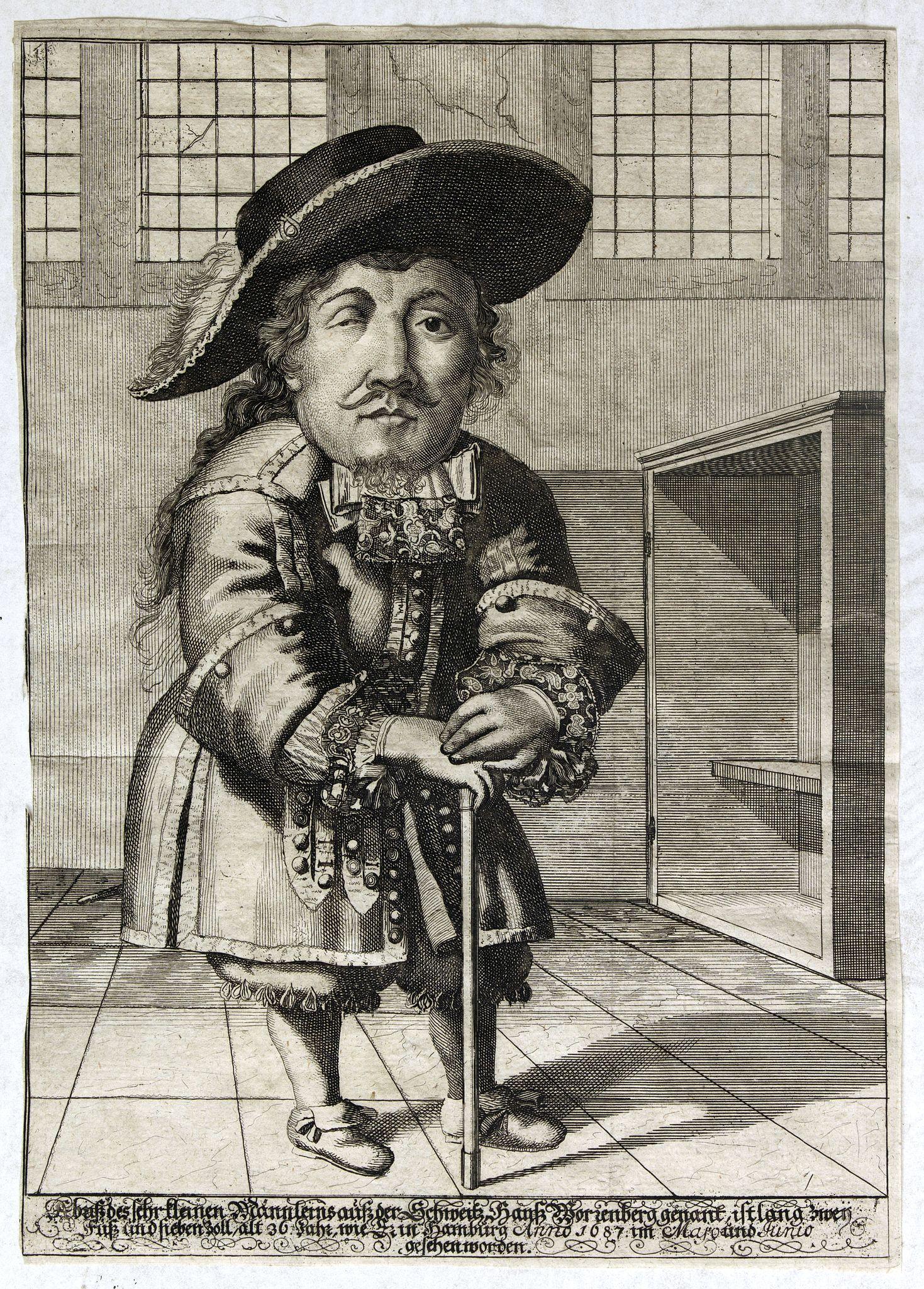 VON WIERING, Th. -  Abbild des sehr kleinen Männleins auß der Schweitz Hans Worrenberg genant, ist lang zwei Fuß und sieben zoll, alt 36 Jahr wie zu Hamburg Anno 1687 im Majo und Junio gesehen worden.