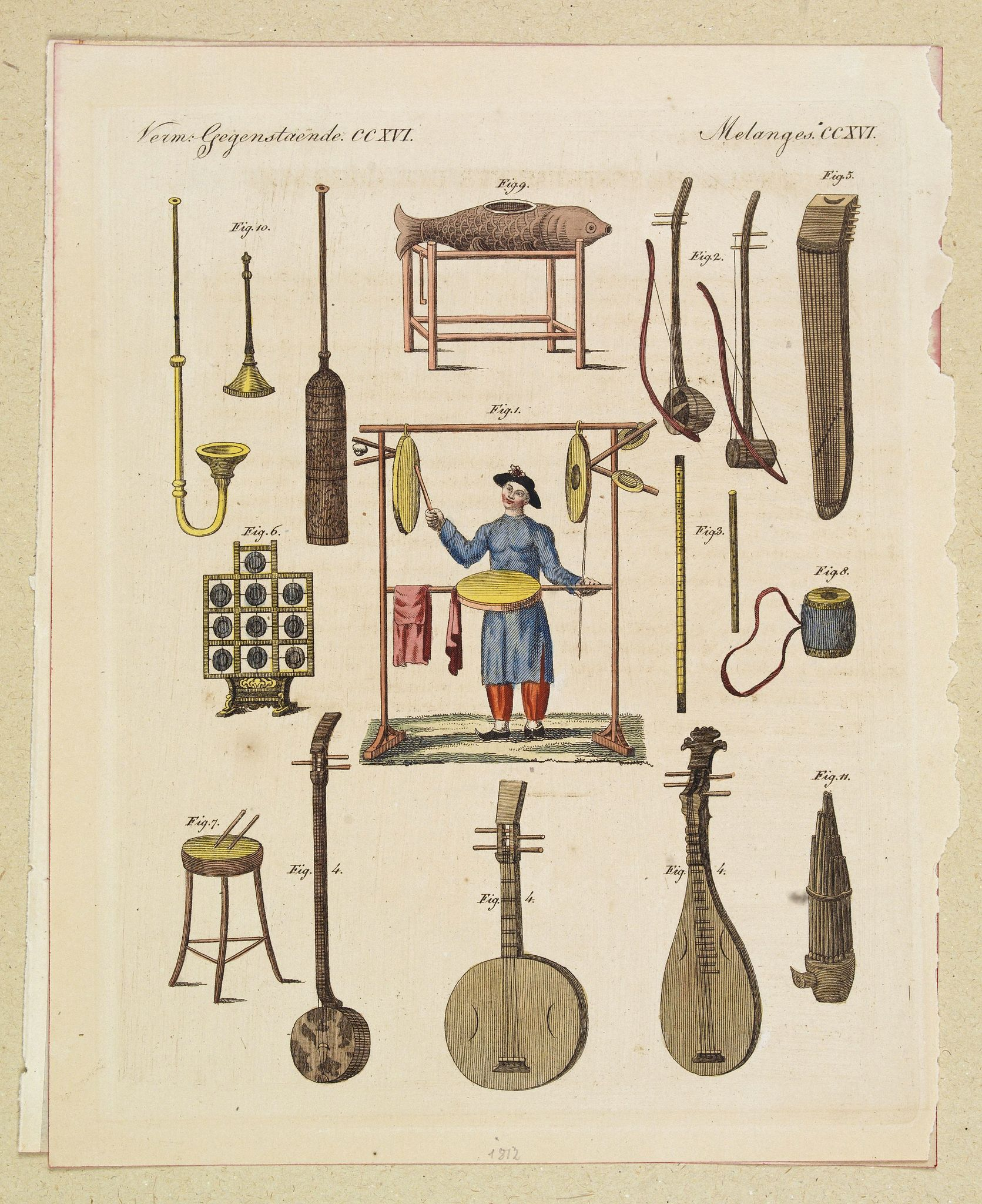 ANONYMOUS,  [assorted Chinese musical instruments]., antique map, old maps