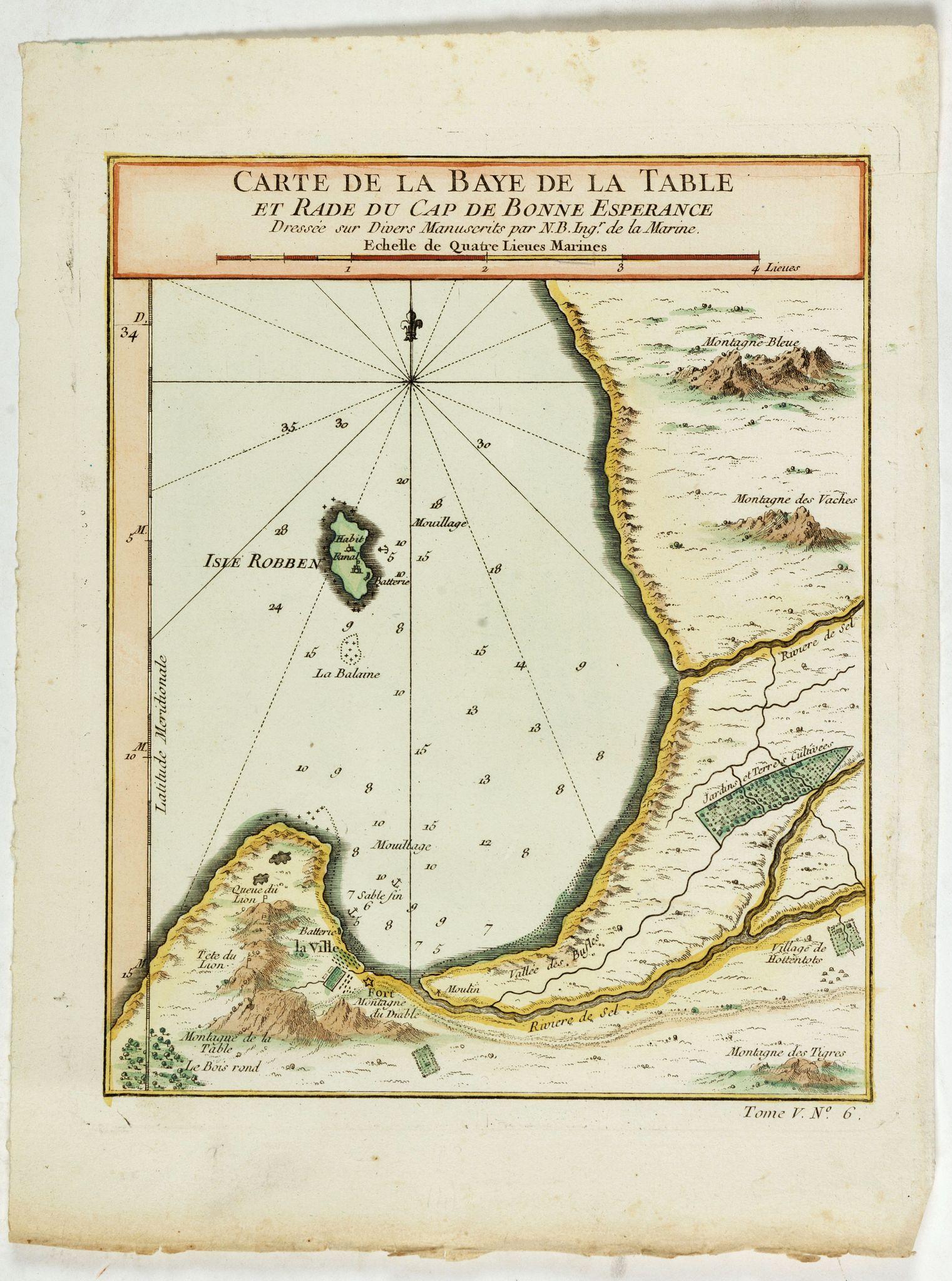 BELLIN, J.N. -  Carte de la Baye de la Table . . .