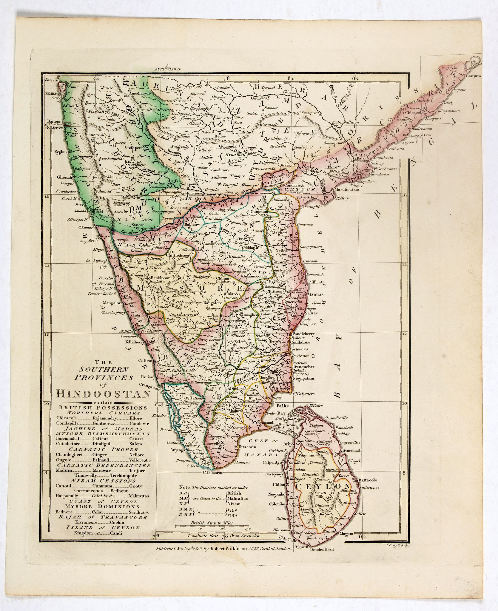WILKINSON, R.,  The Southern provinces of Hindoostan . . ., antique map, old maps