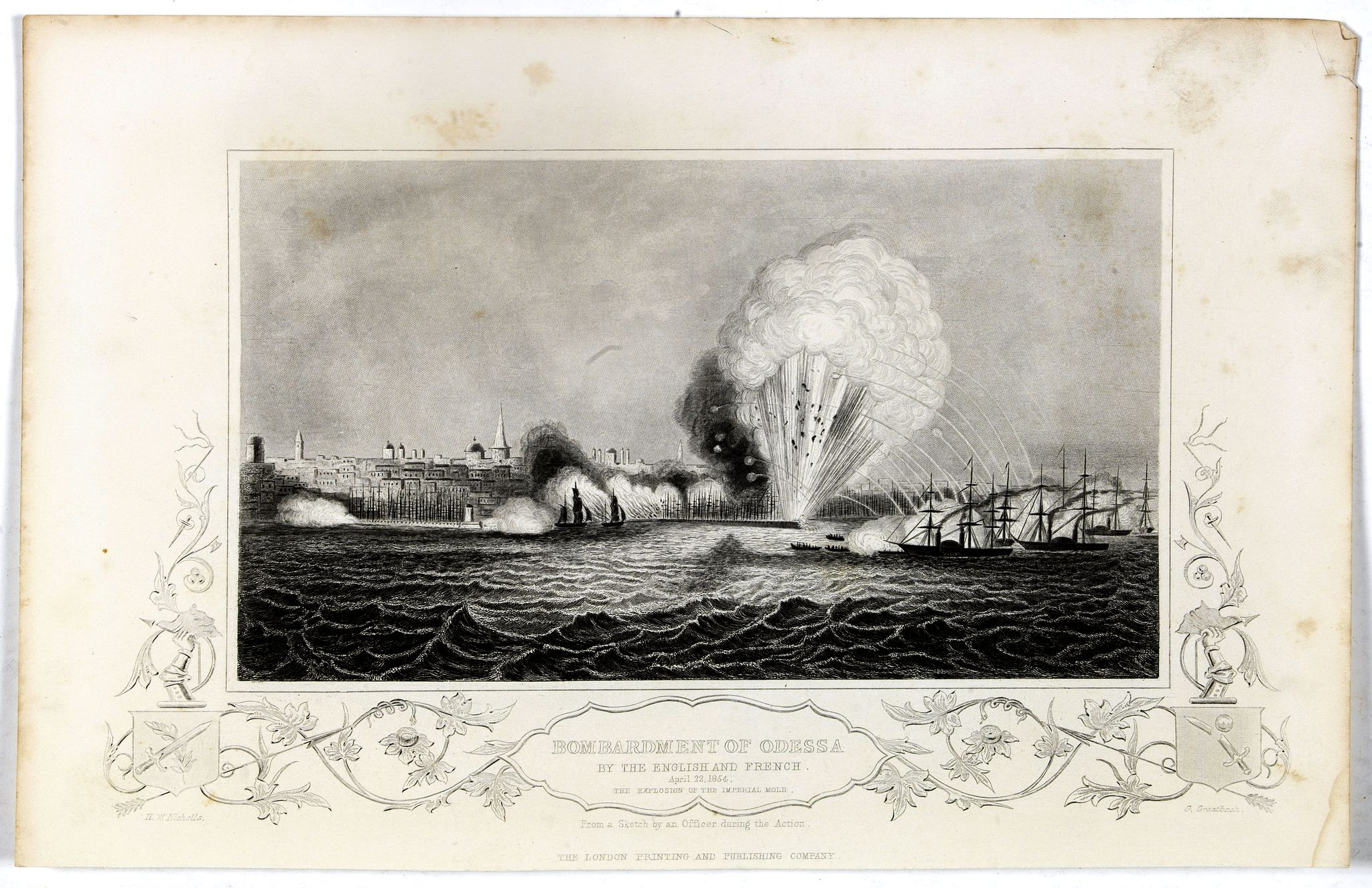 THE LONDON PRINTING AND PUBLISHING COMPANY,  Bombardment of Odessa by the English and French April 22 1854, explosion on the imperial mole . . ., antique map, old maps