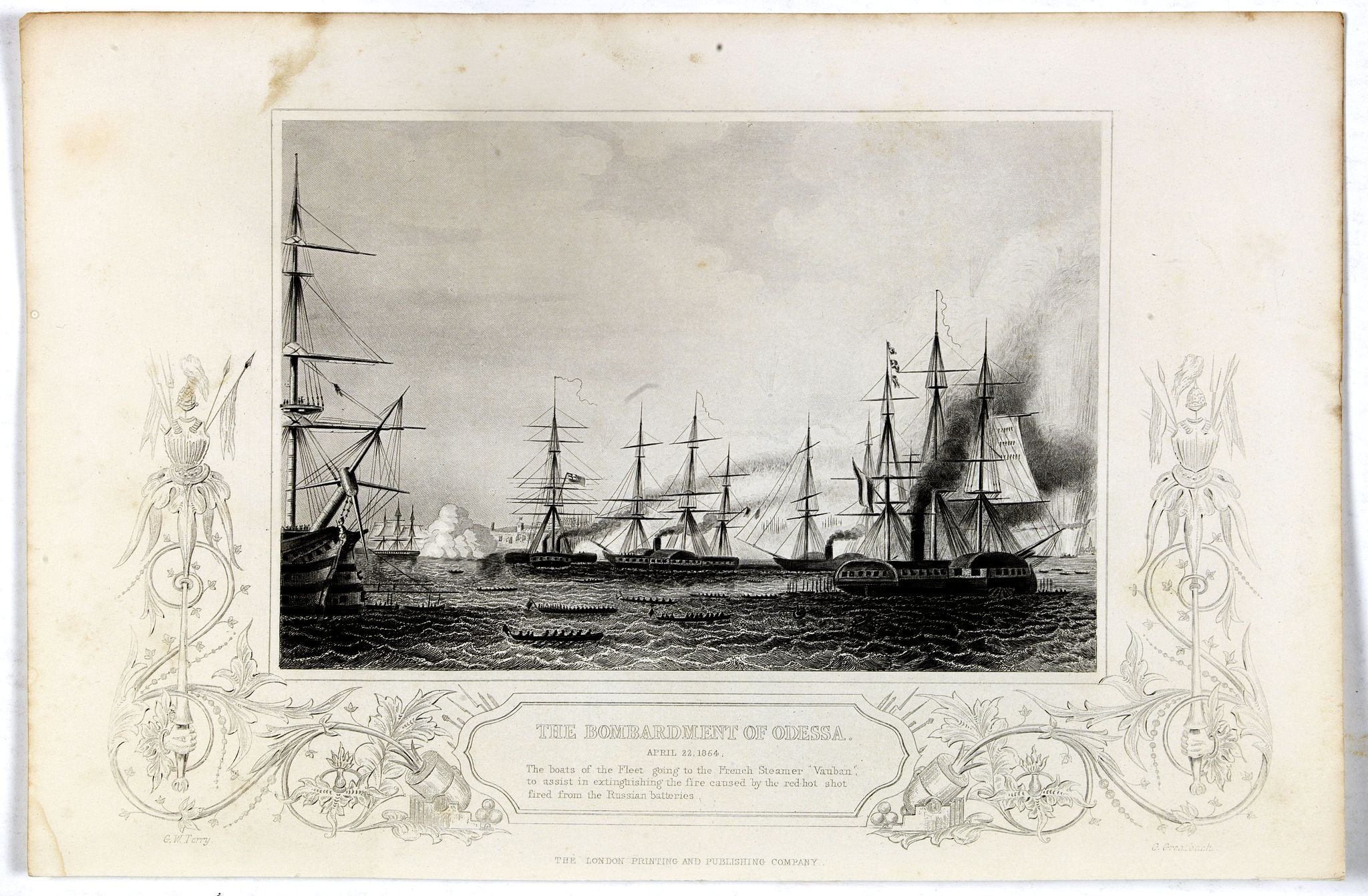THE LONDON PRINTING AND PUBLISHING COMPANY,  Bombardment of Odessa by the English and French April 22 1854, The boats of the British Fleet going to the French steamer 'Vauban' . . ., antique map, old maps