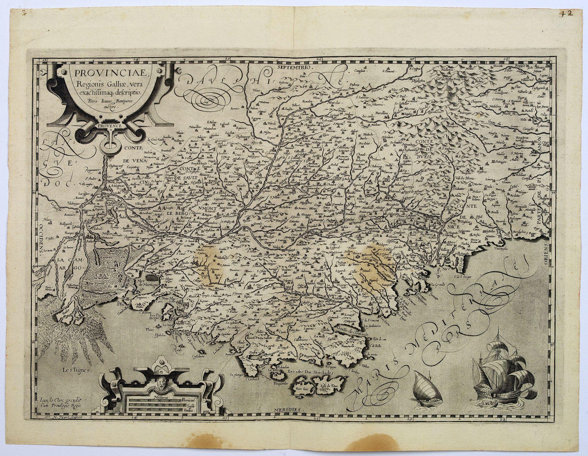 LE CLERC, J. -  Provinciae, Regionis galliae, vera exactissimaq. Descriptio