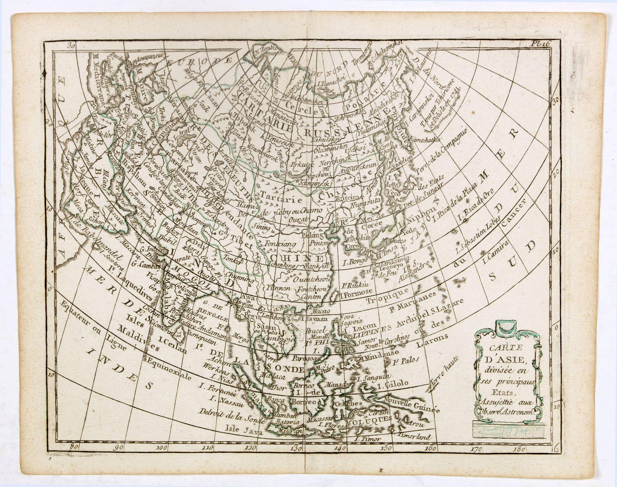 DE LAPORTE, L'Abbé. -  Carte d'Asie . . .