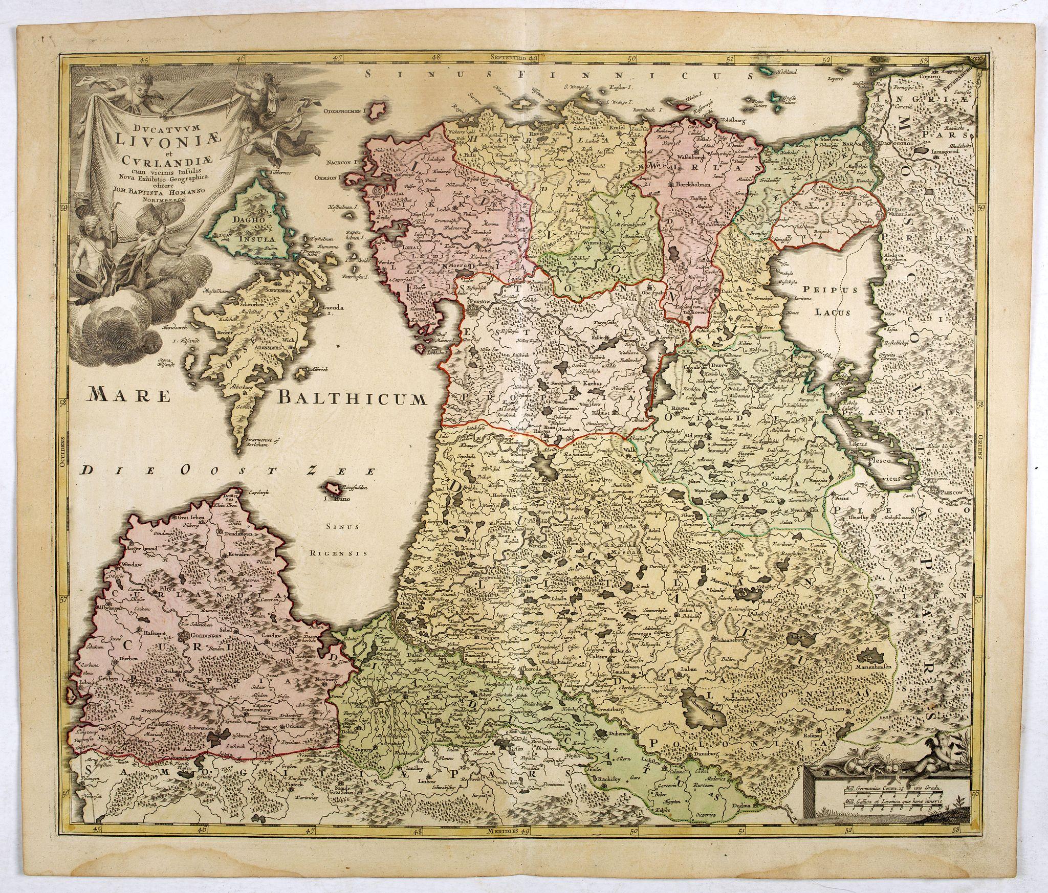 HOMANN, J.B. -  Dvcatvvm Livoniae et Cvrlandiae cum vicinis insulis nova exhibitio geographica.