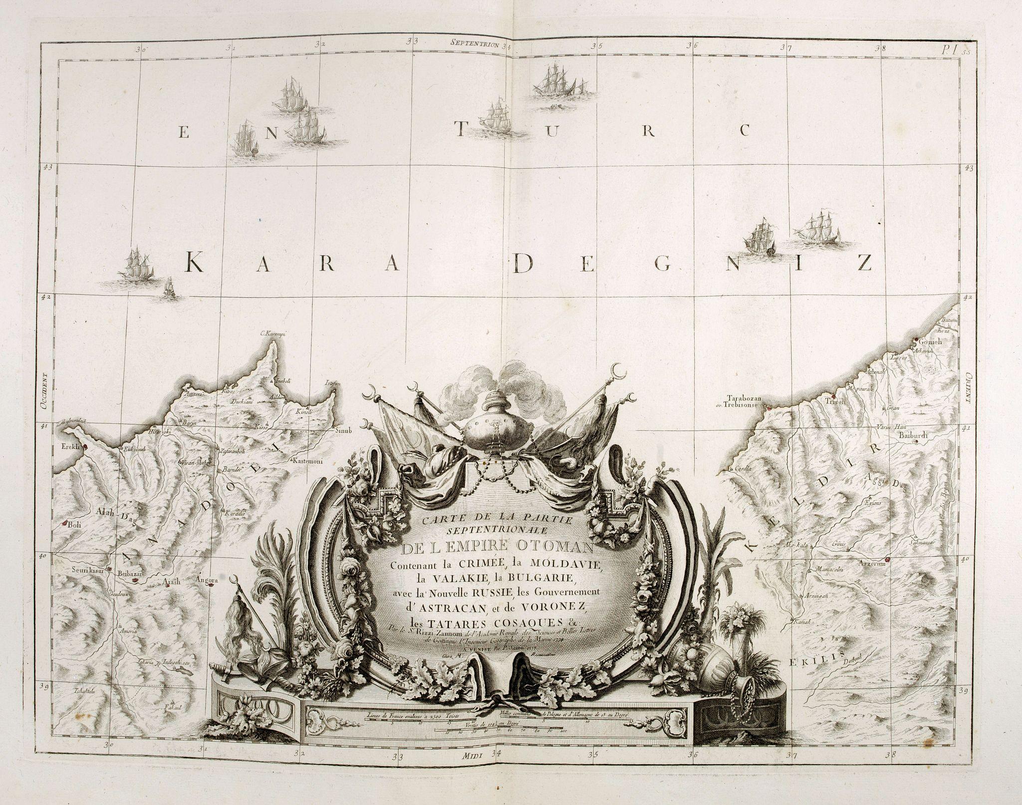 SANTINI, P. / REMONDINI, M. -  Carte de la partie septentrionale de l'empire Otoman. contenant la Crimée, la Moldavie, la Valakie, la Bulgarie, avec la nouvelle Russie, les gouvernement d'Astracan, et de Voronez, les Tatares cosaques &c. / par le Sr. Rizzi Zannoni. 1774
