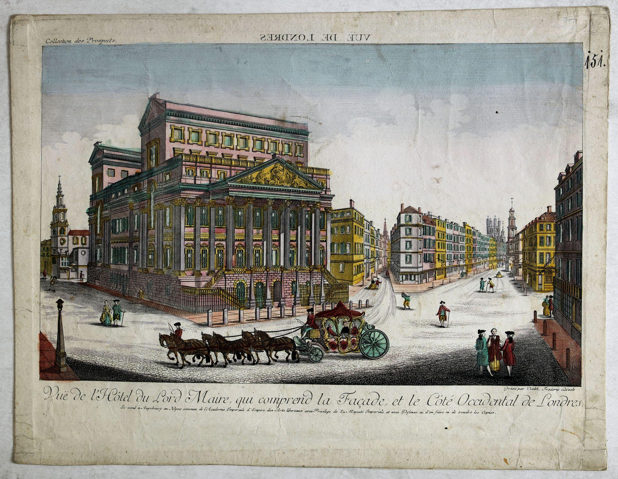 ACADEMIE -  Vue de l Hotel du Lord Maire, qui comprend la Façade, et le Cot' Occidental de Londres.