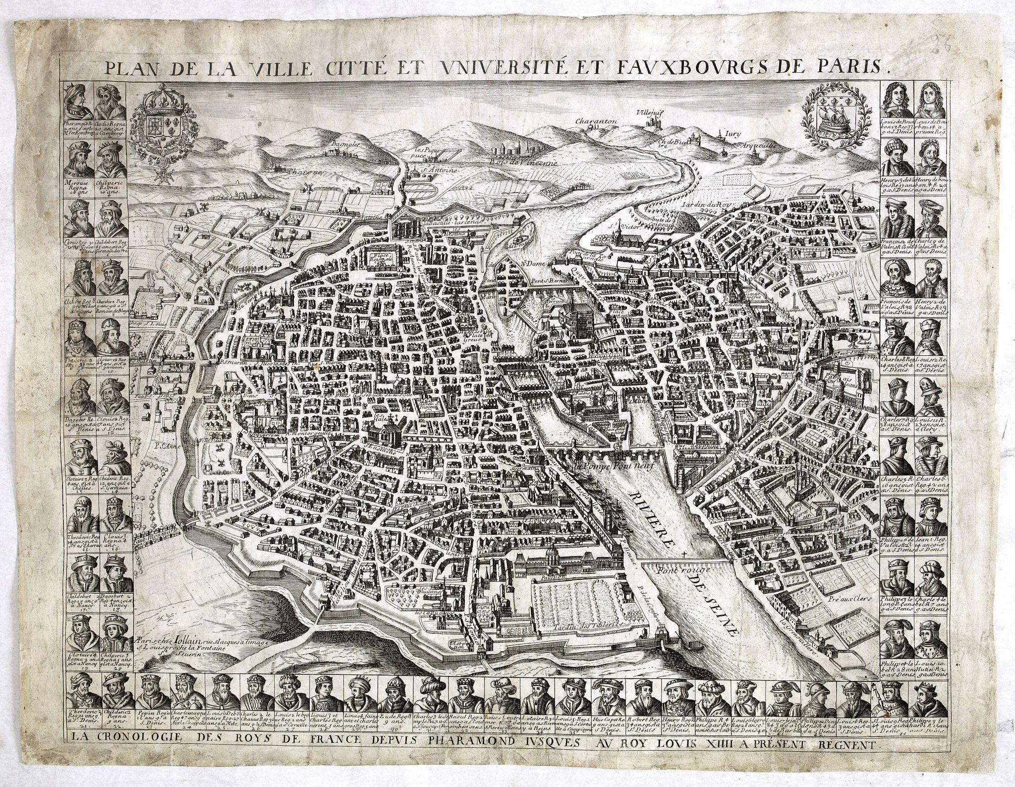 JOLLAIN, G. -  Plan de la ville citté et université et fauxbourgs de Paris.