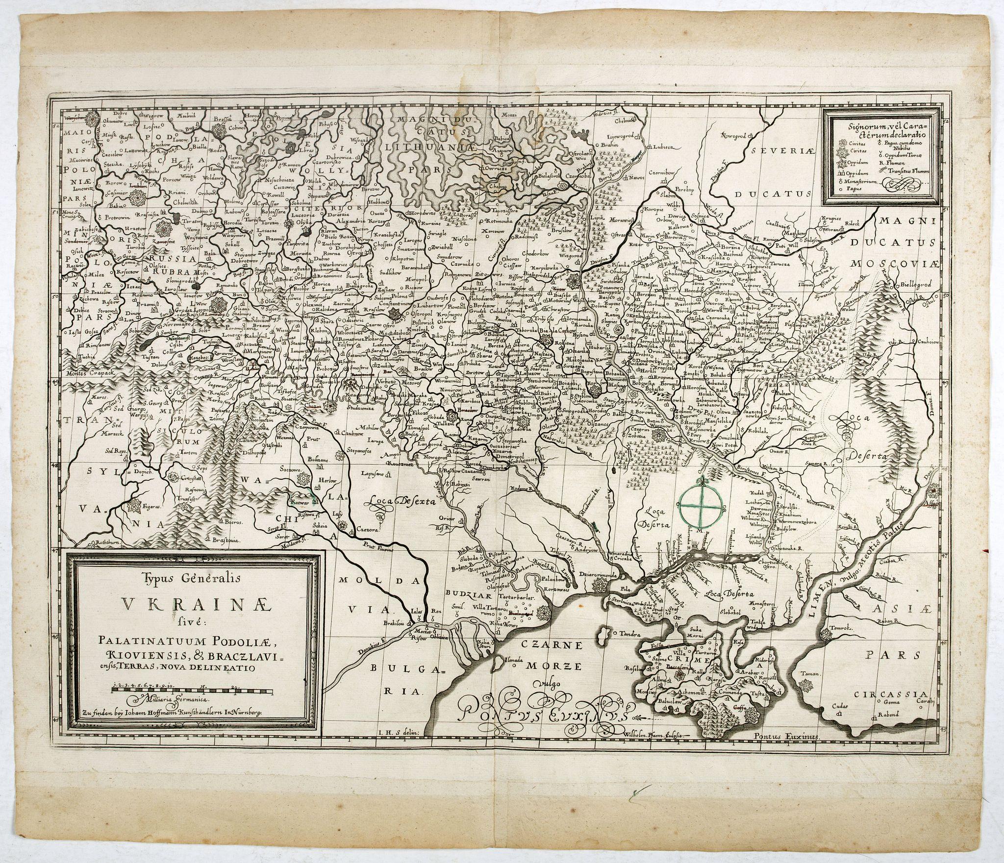 GUILLAUME DE BEAUPLAN / HOFFMAN, J. -  Typus Generalis Ukrainae sive Palatinatuum Podoliae, Kioviensis et Braczlaviensis terras nova delineatione exhibens. . .