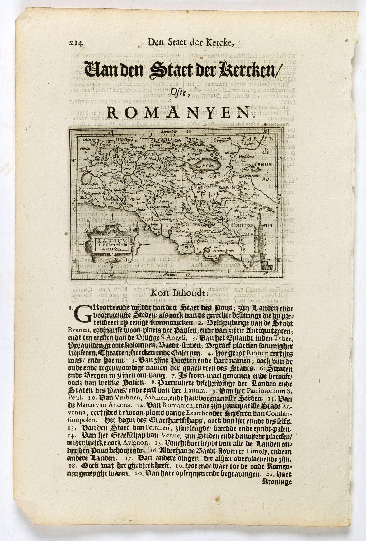 DE CLERCK, N. -  Latium sive Campania di Roma.