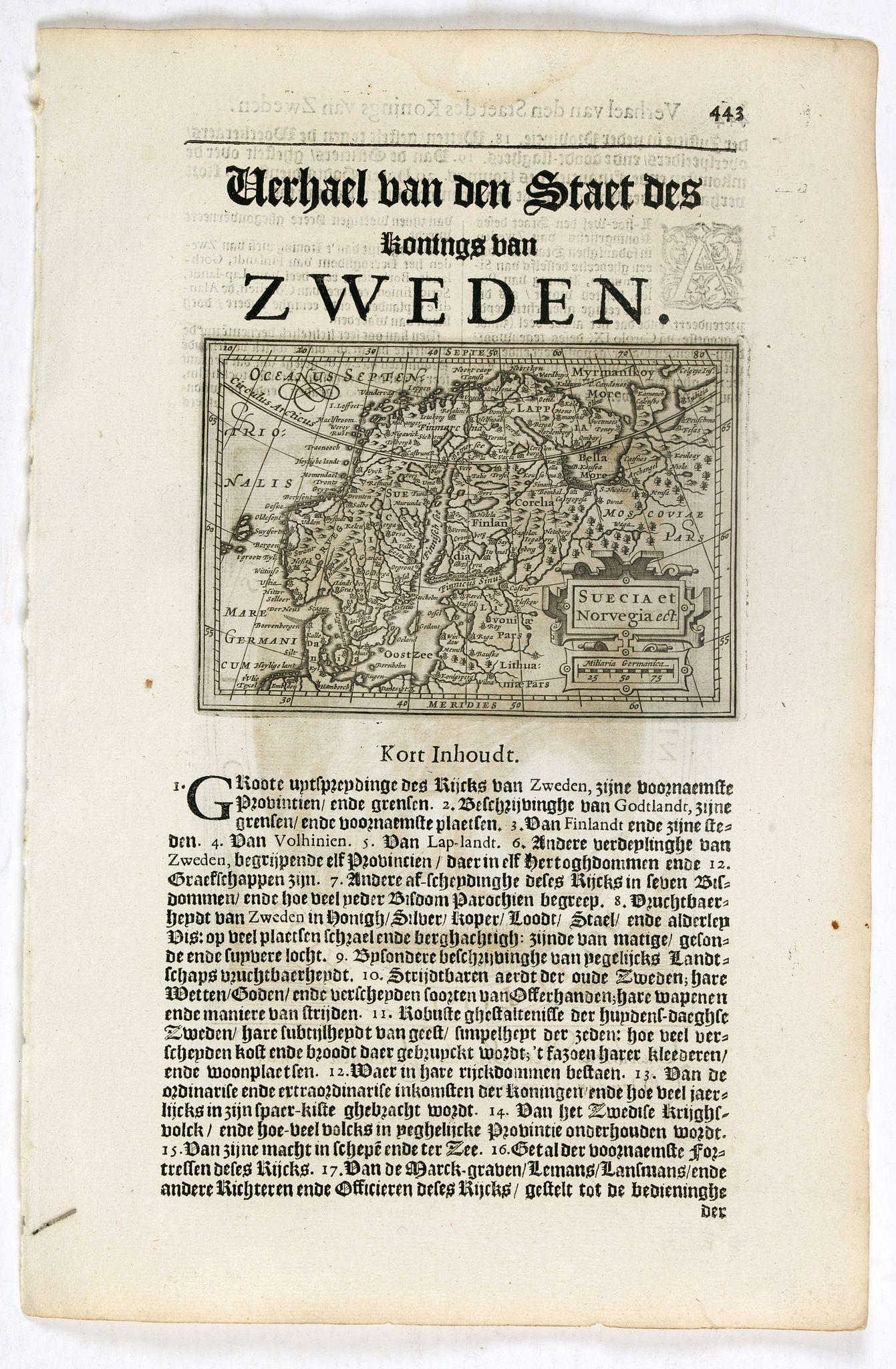 DE CLERCK, N. -  Suecia et Norvegia ect.